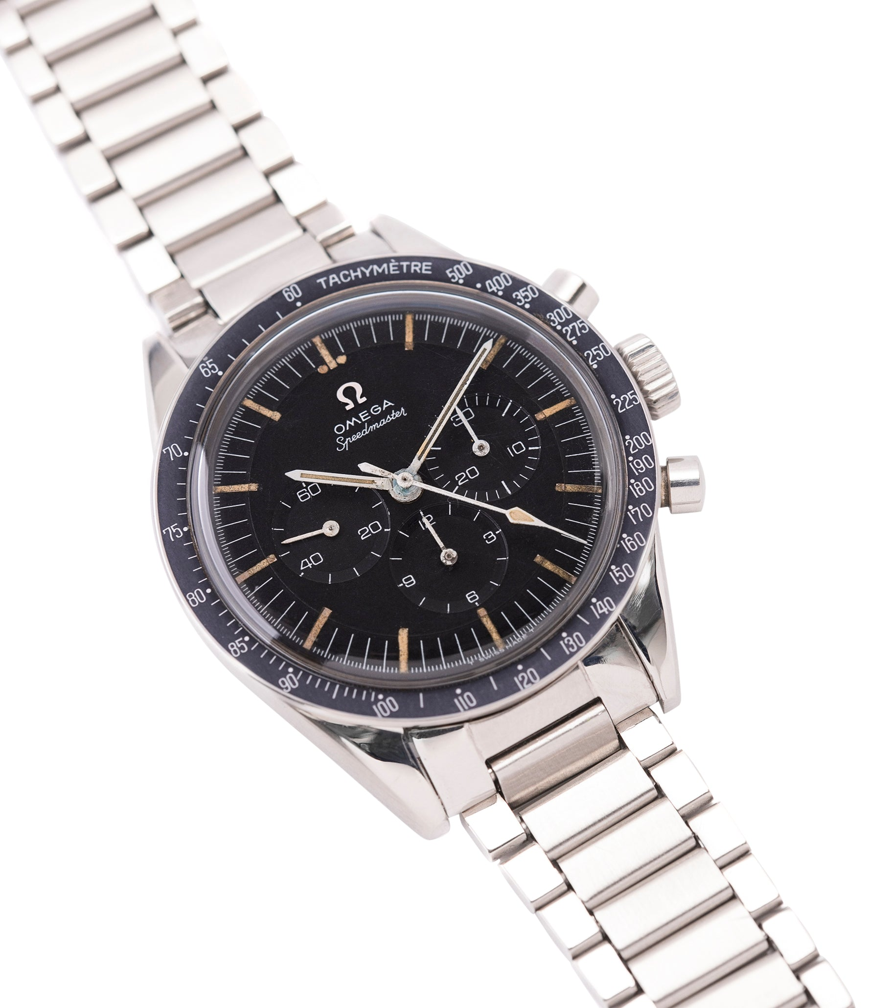 selling vintage Omega Speedmaster Pre-Professional Ed White 105003 steel vintage chronograph 7912 flat-link bracelet for sale online at A Collected Man UK specialist of rare vintage watches