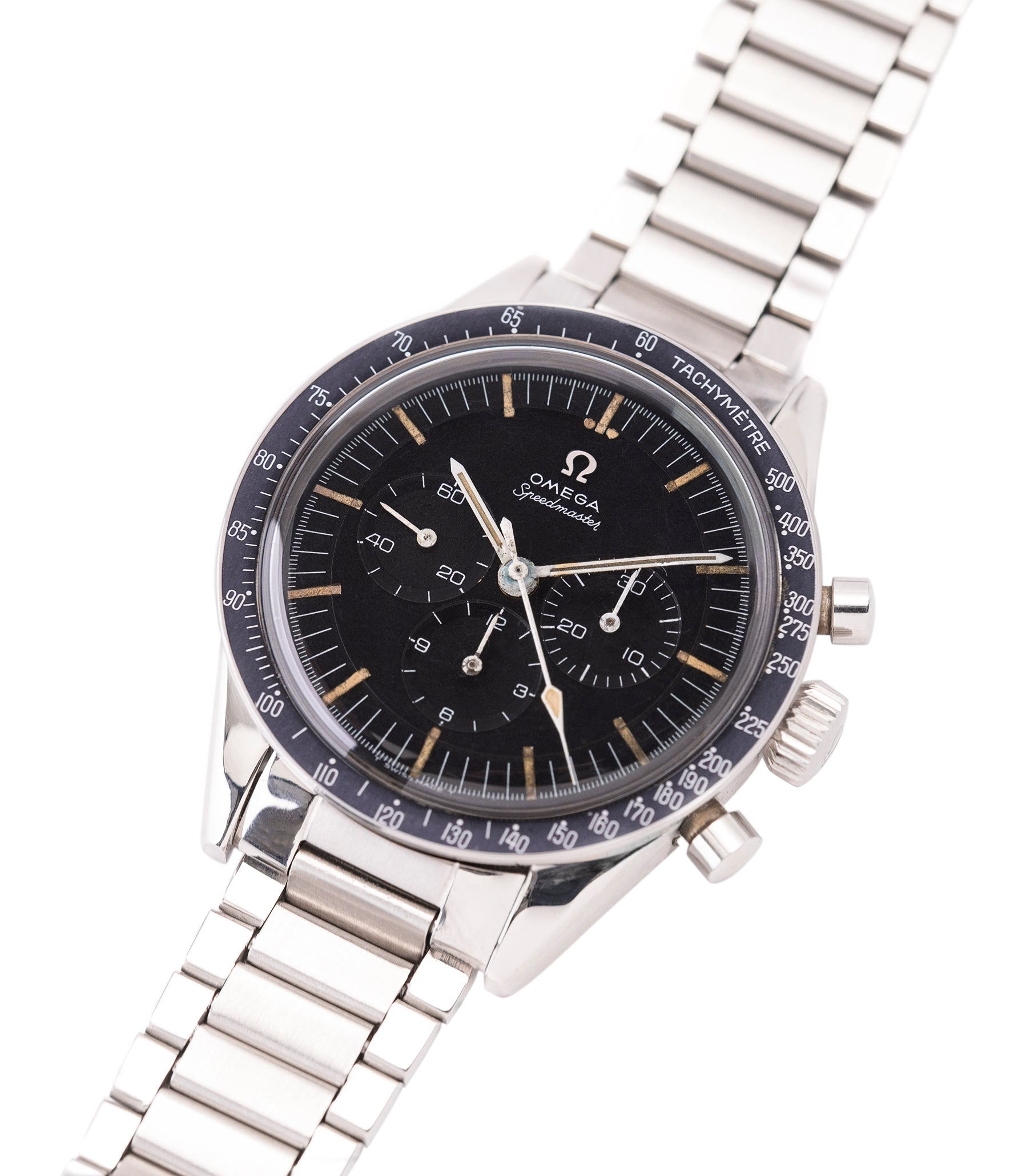 buy Omega Speedmaster Pre-Professional Ed White 105003 steel vintage chronograph 7912 flat-link bracelet for sale online at A Collected Man UK specialist of rare vintage watches