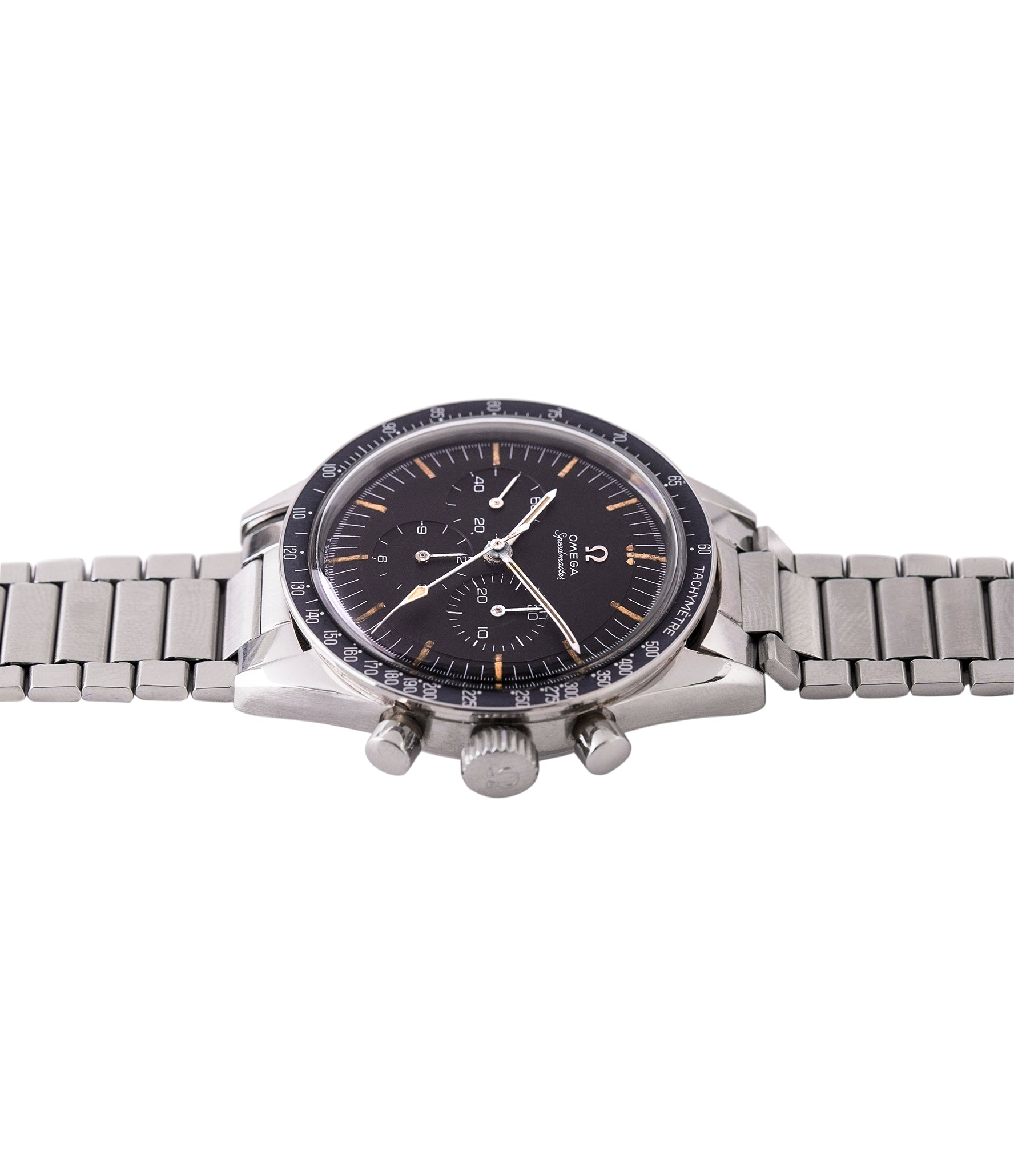 steel Omega Speedmaster Pre-Professional Ed White 105003 steel vintage chronograph 7912 flat-link bracelet for sale online at A Collected Man UK specialist of rare vintage watches