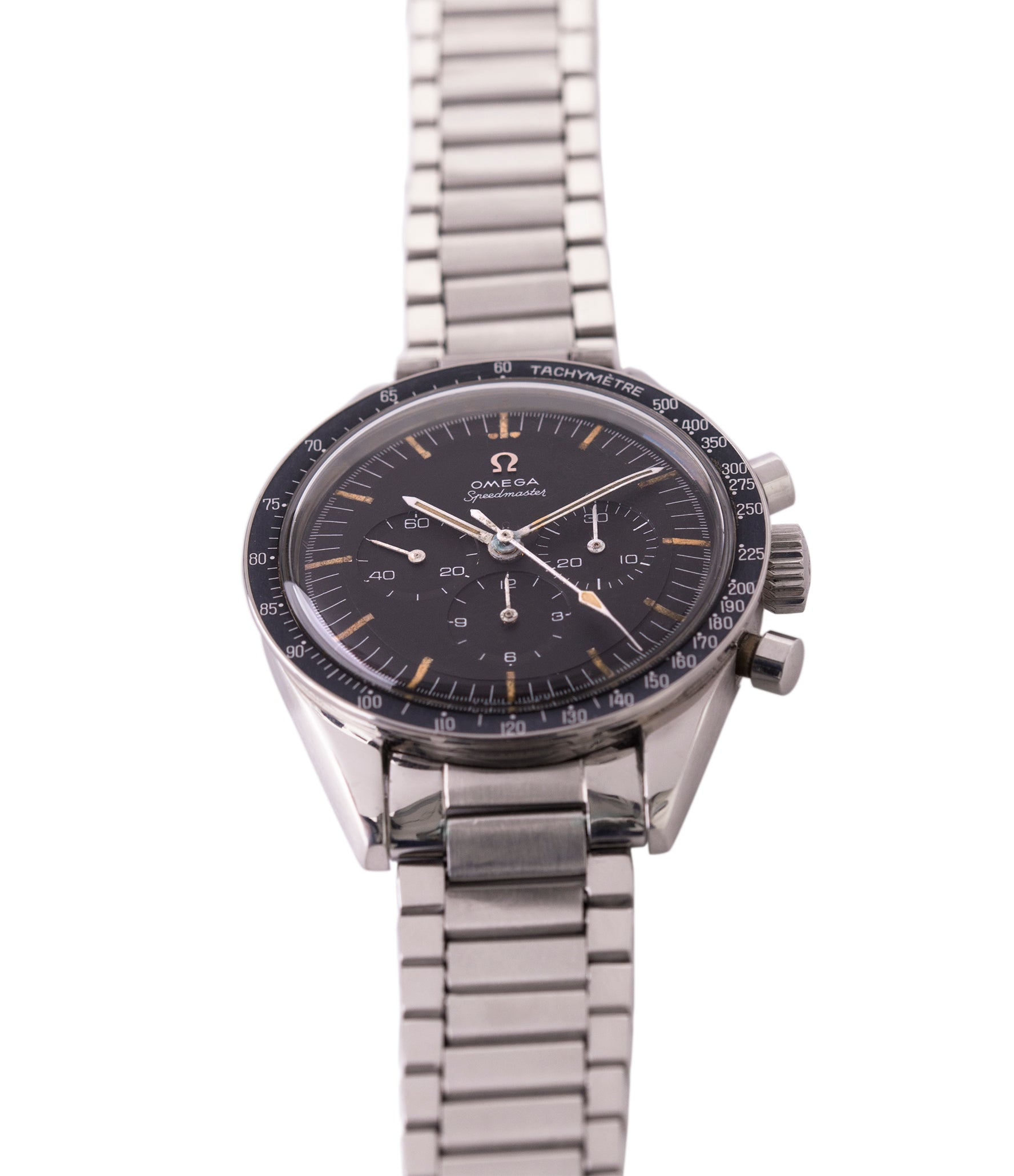for sale vintage Omega Speedmaster Pre-Professional Ed White 105003 steel vintage chronograph 7912 flat-link bracelet for sale online at A Collected Man UK specialist of rare vintage watches