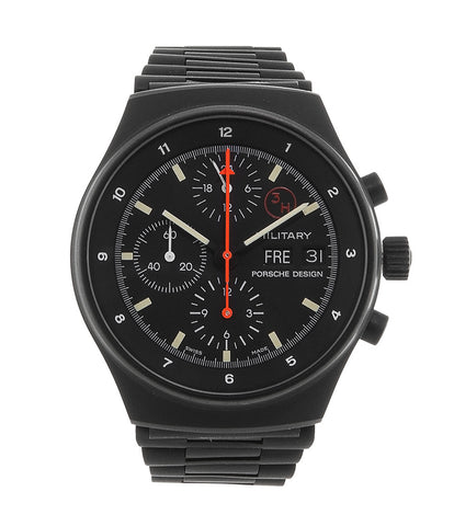 Orfina Porsche design military chronograph 7177 M stainless steel automatic Cal. Lemania 5100 vintage authentic pre-owned military, sport luxury watch from brand new with black dial and black-coated stainless steel bracelet with date, weekday, 24 hour display, chronograph, hours, minutes, sub-seconds