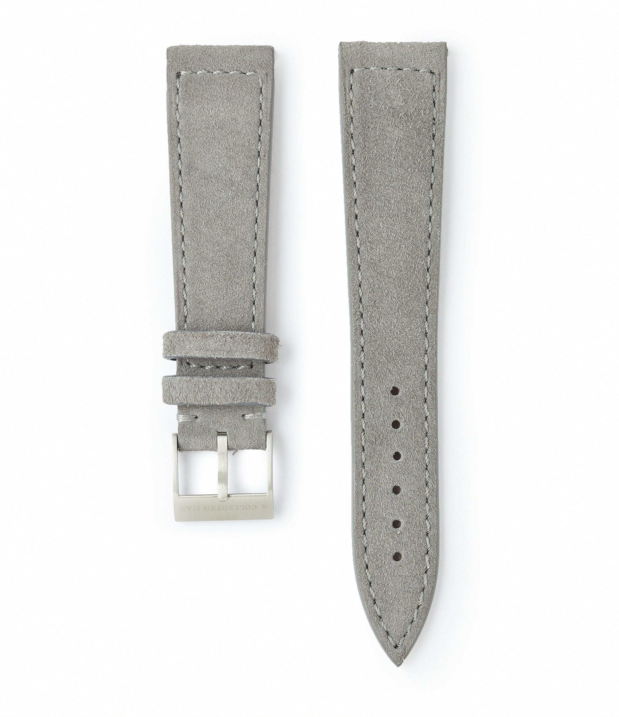 light grey suede boxed stitched Oslo watch strap 19mm lug width order online at A Collected Man London