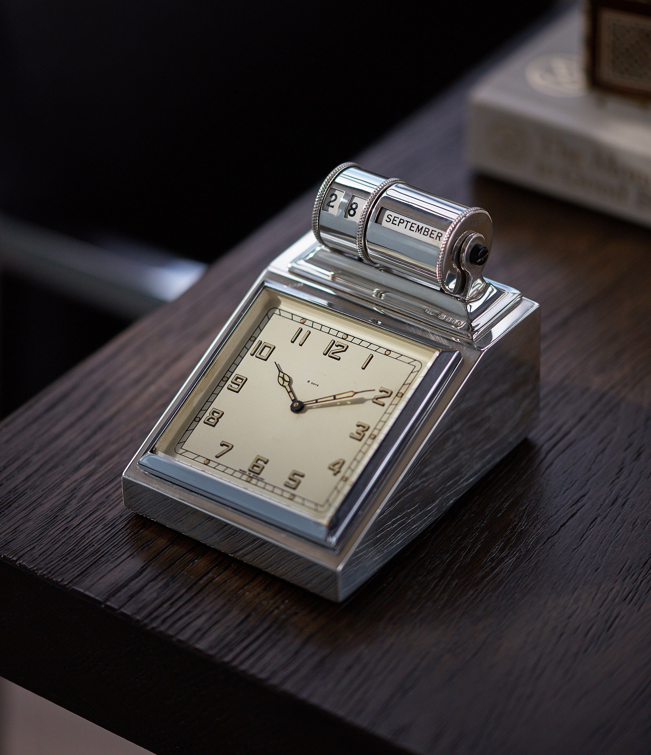 Silver Desk Clock | 8 Day