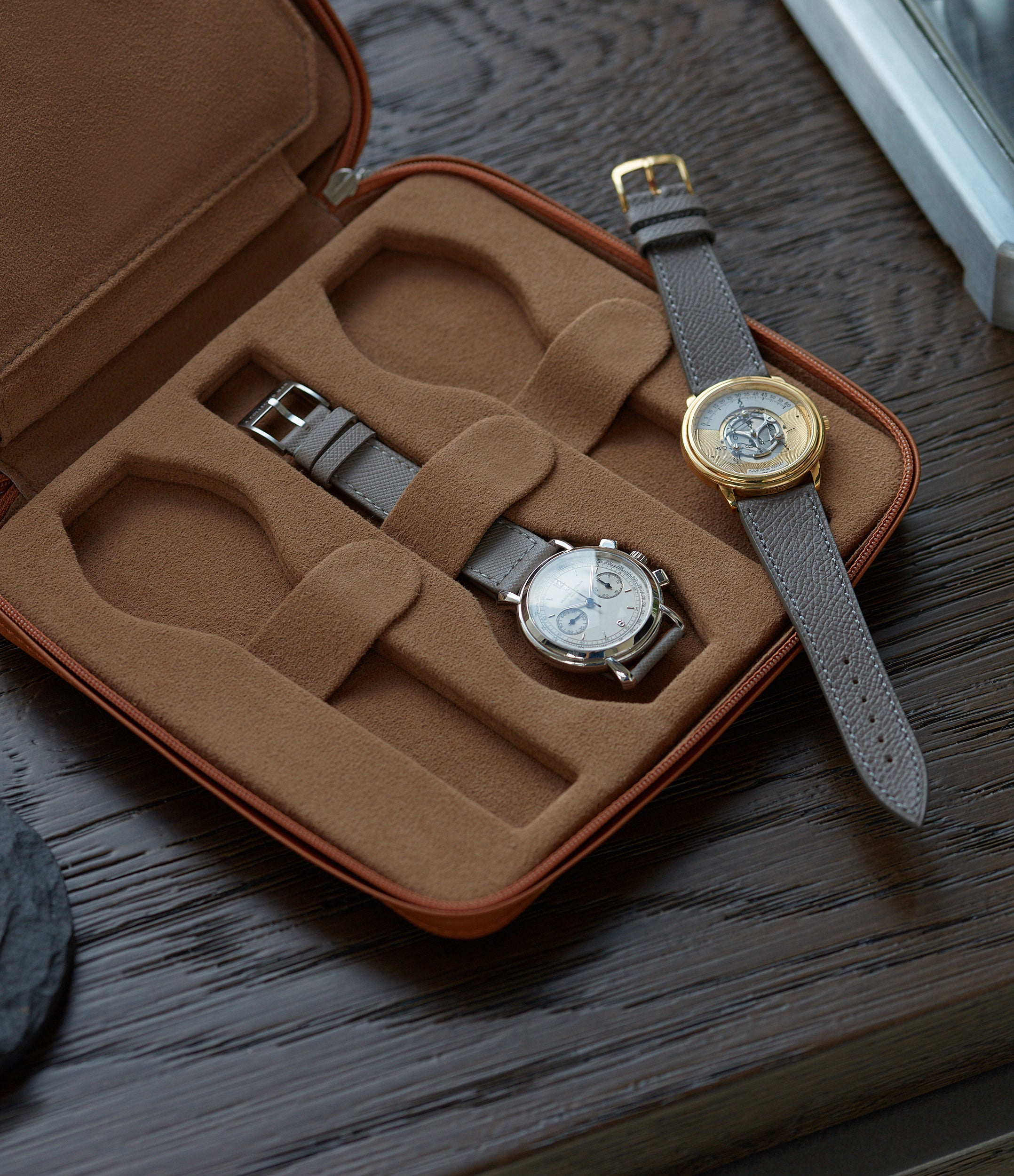 six-watch burnt orange leather Paris watch travel zip pouch holder 6 watches order online A Collected Man London