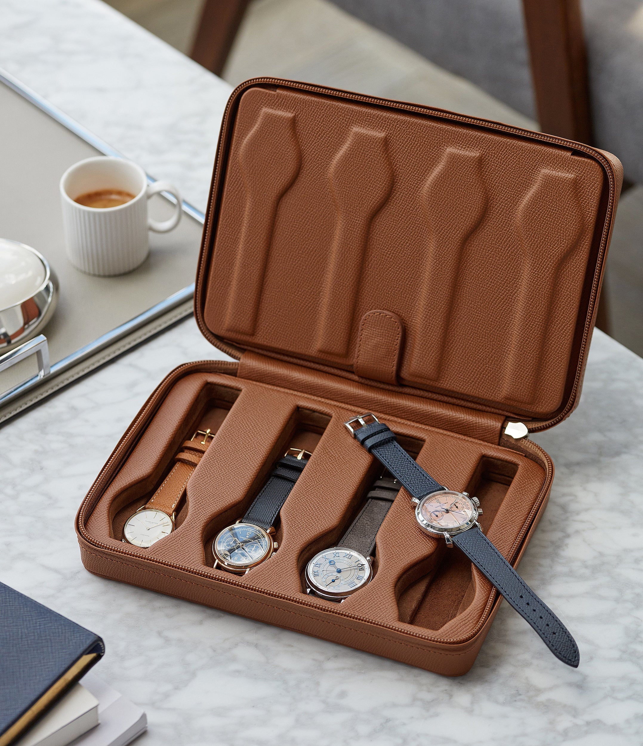 tan calfskin watch case holder accessories eight watches order online A Collected Man London