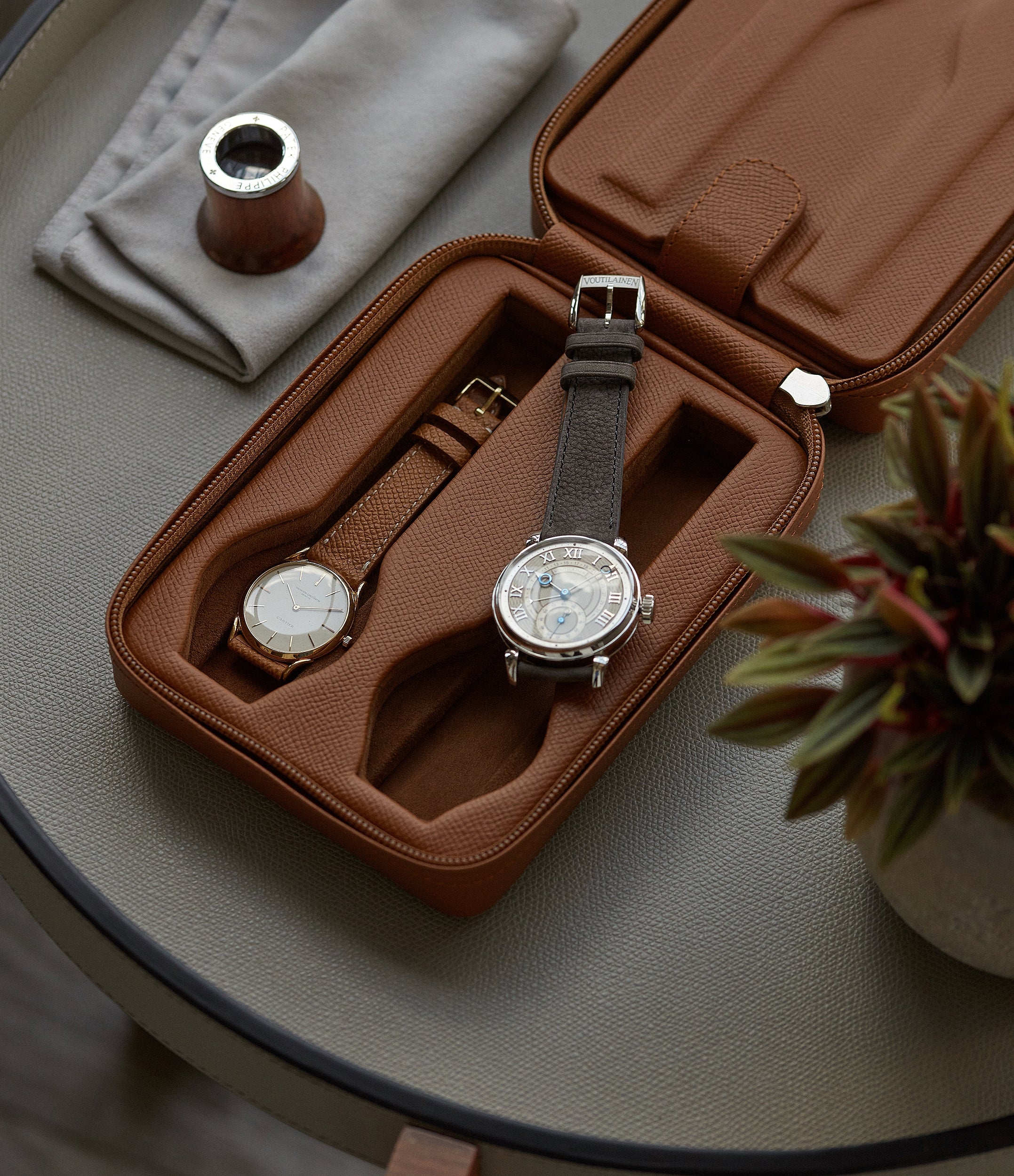 tan calfskin watch case holder accessories four watches order online A Collected Man London