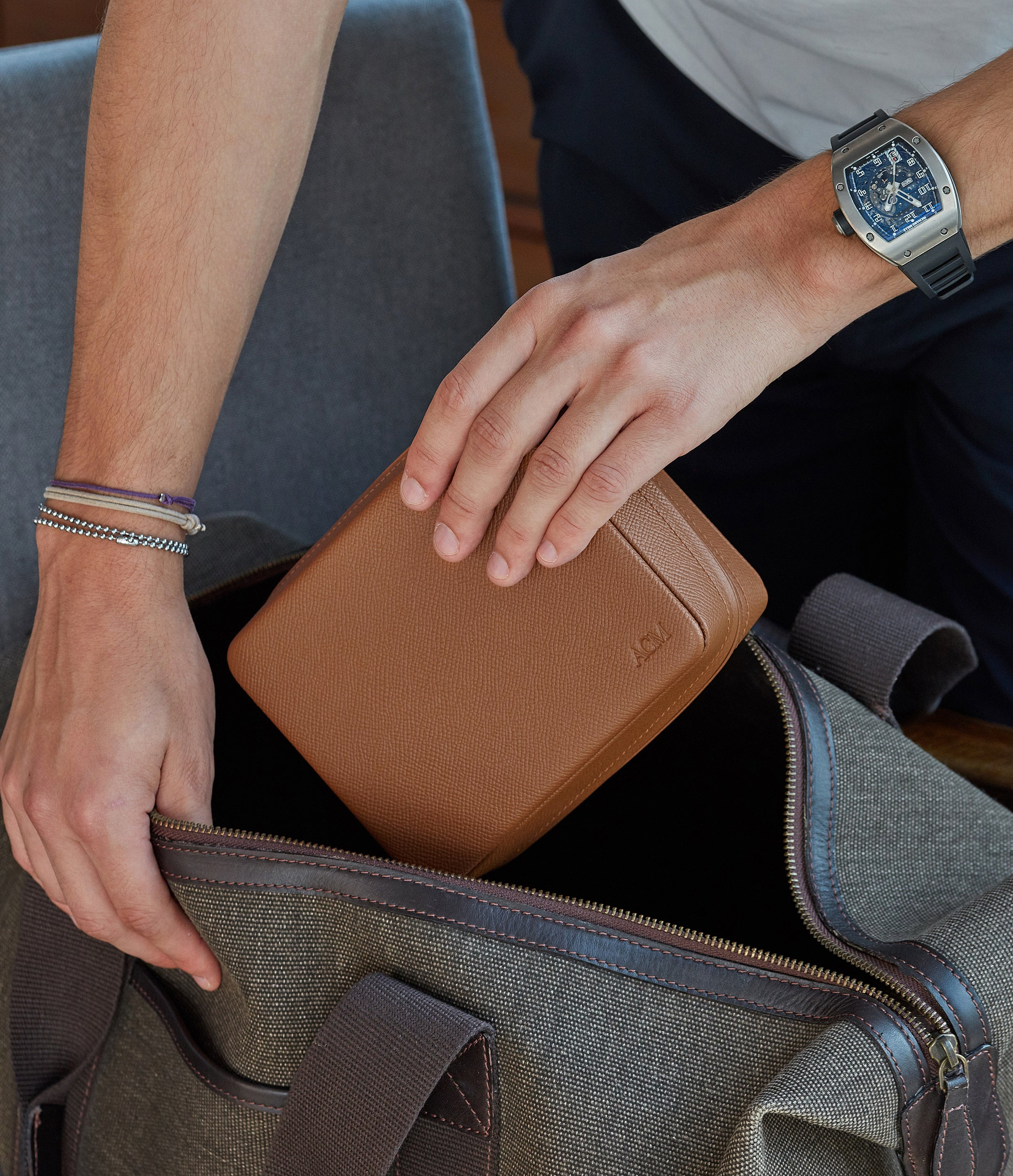 shop tan calfskin watch case holder accessories four watches order online A Collected Man London hand-made in Europe for travel