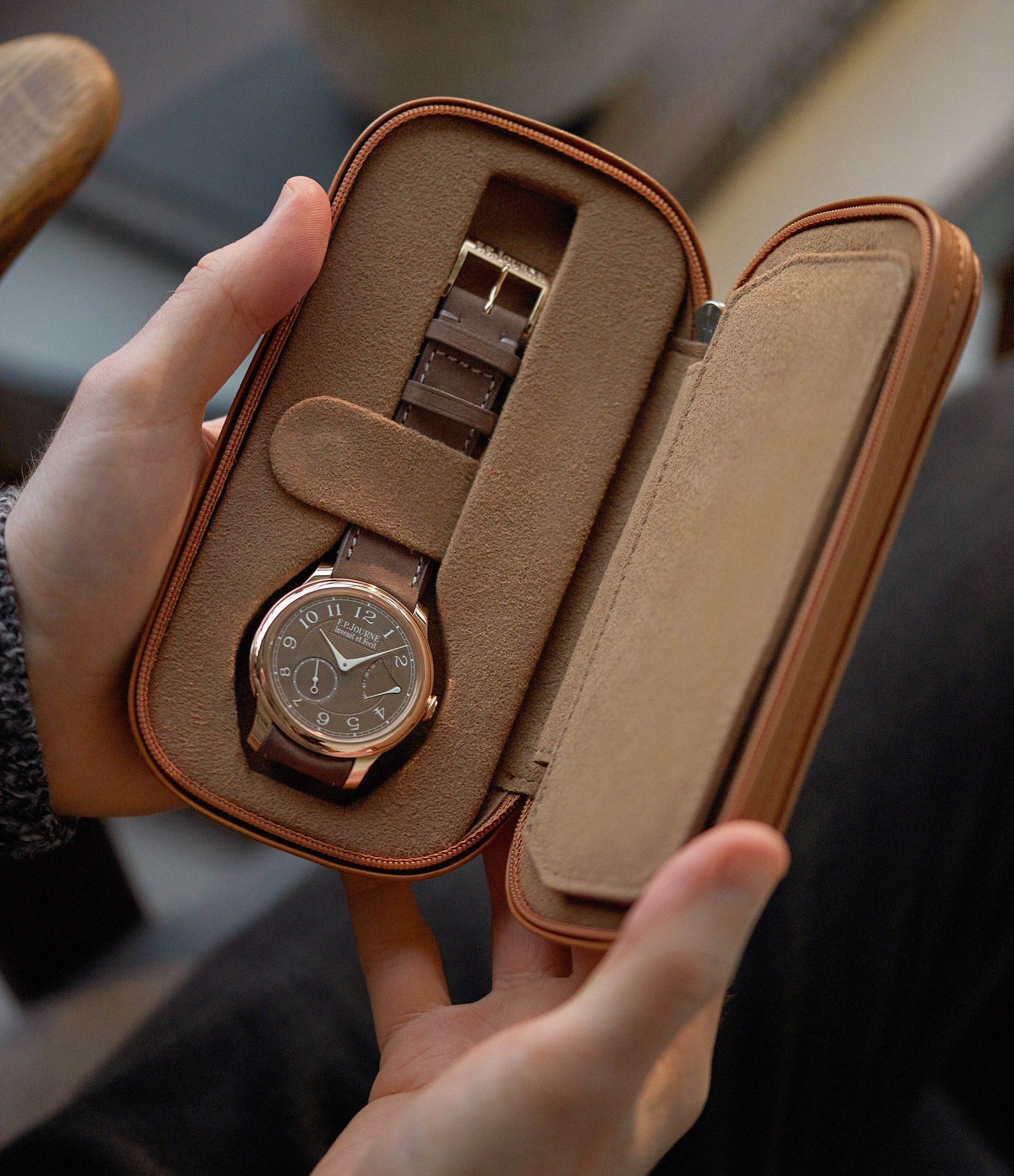shop orange tan brown calfskin watch travel zip pouch accessories for two watches order online A Collected Man London