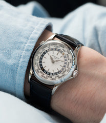 on the wrist Patek Philippe 5110G-001 white gold World-timer luxury dress watch online for sale at A Collected Man London specialist preowned luxury watches