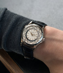 luxury gentlemen's travel watch Patek Philippe 5110G-001 white gold World-timer luxury dress watch online for sale at A Collected Man London specialist preowned luxury watches