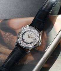 preowned Patek Philippe 5110G-001 white gold World-timer luxury dress watch online for sale at A Collected Man London specialist preowned luxury watches