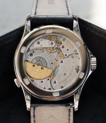 240HU calibre automatic Patek Philippe 5110G-001 white gold World-timer luxury dress watch online for sale at A Collected Man London specialist preowned luxury watches
