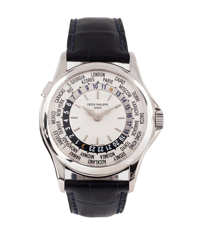 buy Patek Philippe 5110G-001 white gold World-timer luxury dress watch online for sale at A Collected Man London specialist preowned luxury watches