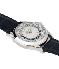 selling preowned Patek Philippe 5110G-001 white gold World-timer luxury dress watch online for sale at A Collected Man London specialist preowned luxury watches