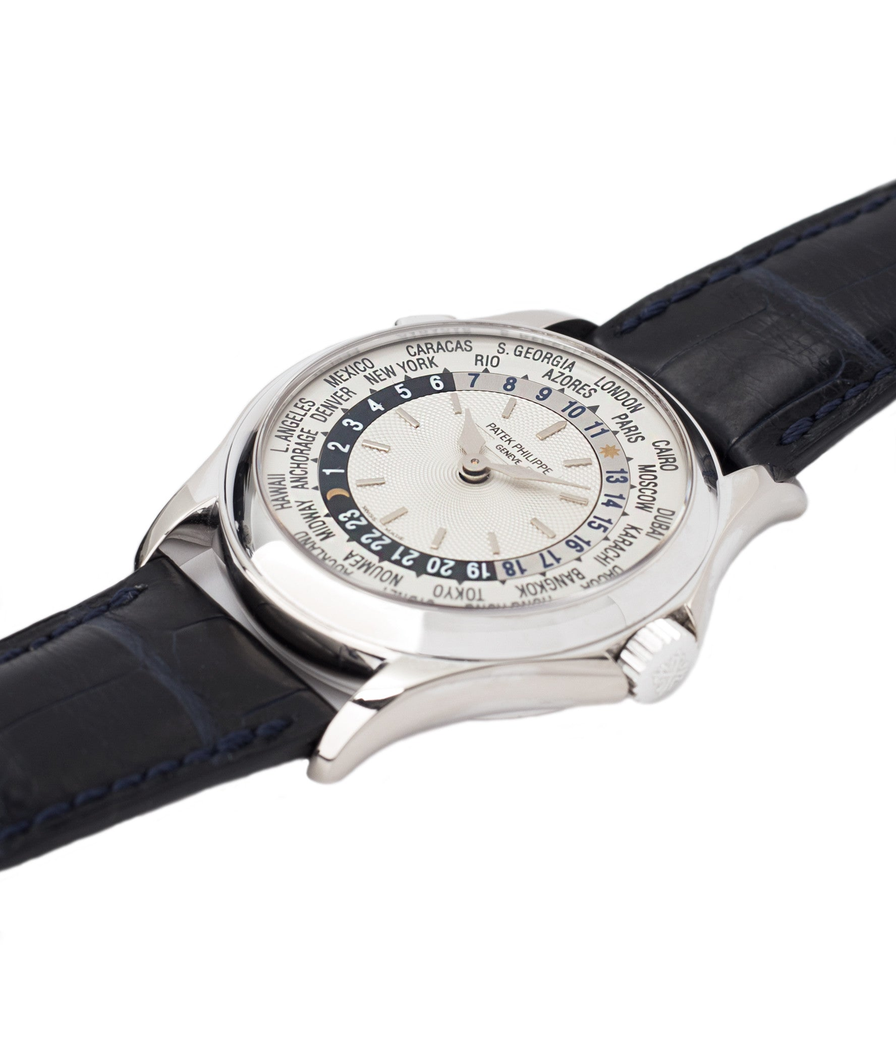 for sale Patek Philippe 5110G-001 white gold World-timer luxury dress watch online for sale at A Collected Man London specialist preowned luxury watches