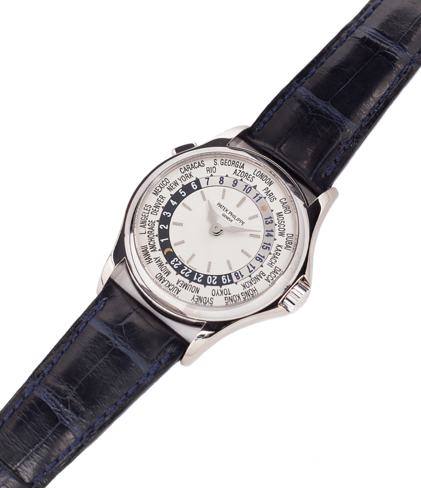 for sale preowned Patek Philippe 5110G-001 white gold World-timer luxury dress watch online for sale at A Collected Man London specialist preowned luxury watches