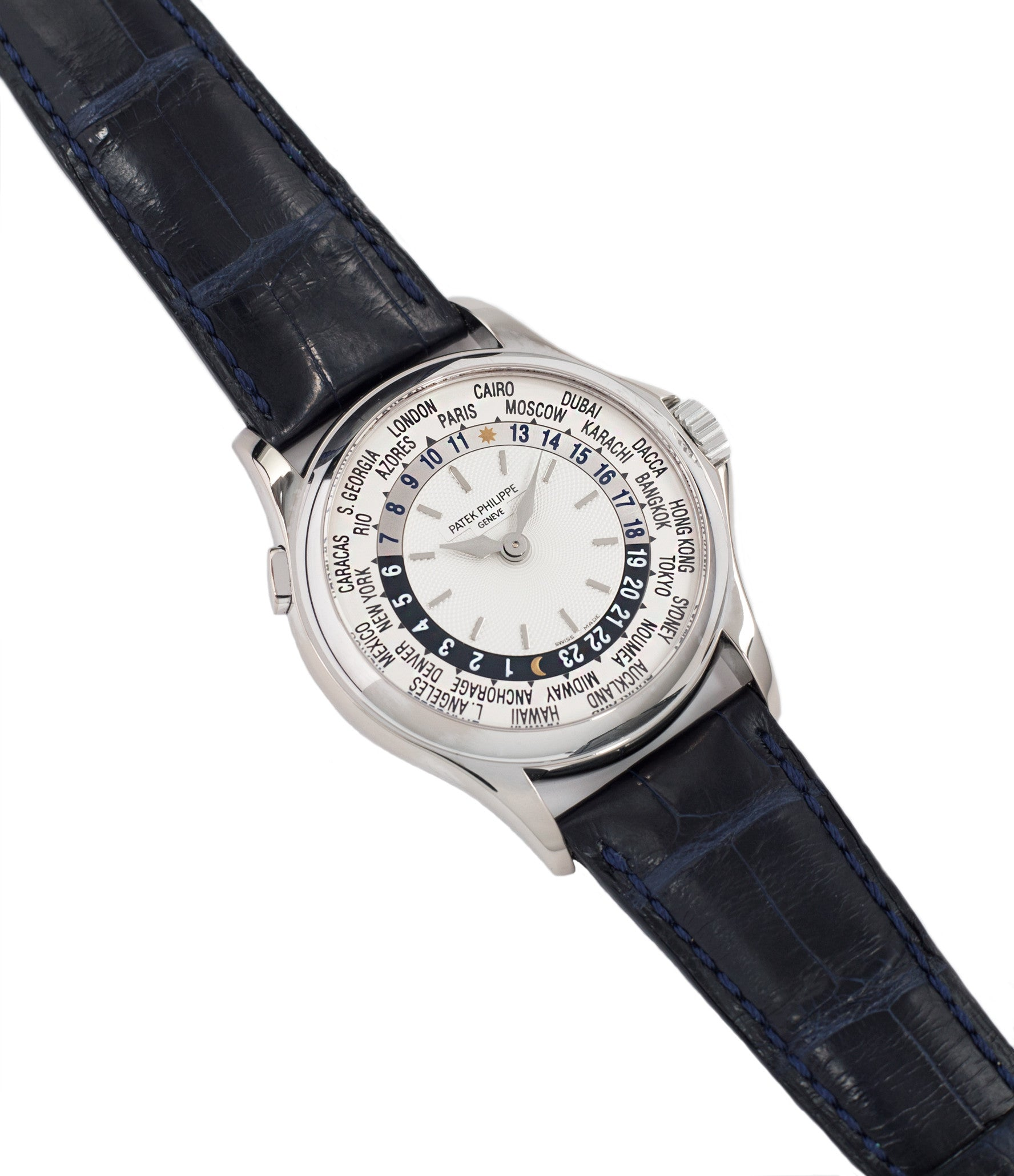 selling Patek Philippe 5110G-001 white gold World-timer luxury dress watch online for sale at A Collected Man London specialist preowned luxury watches