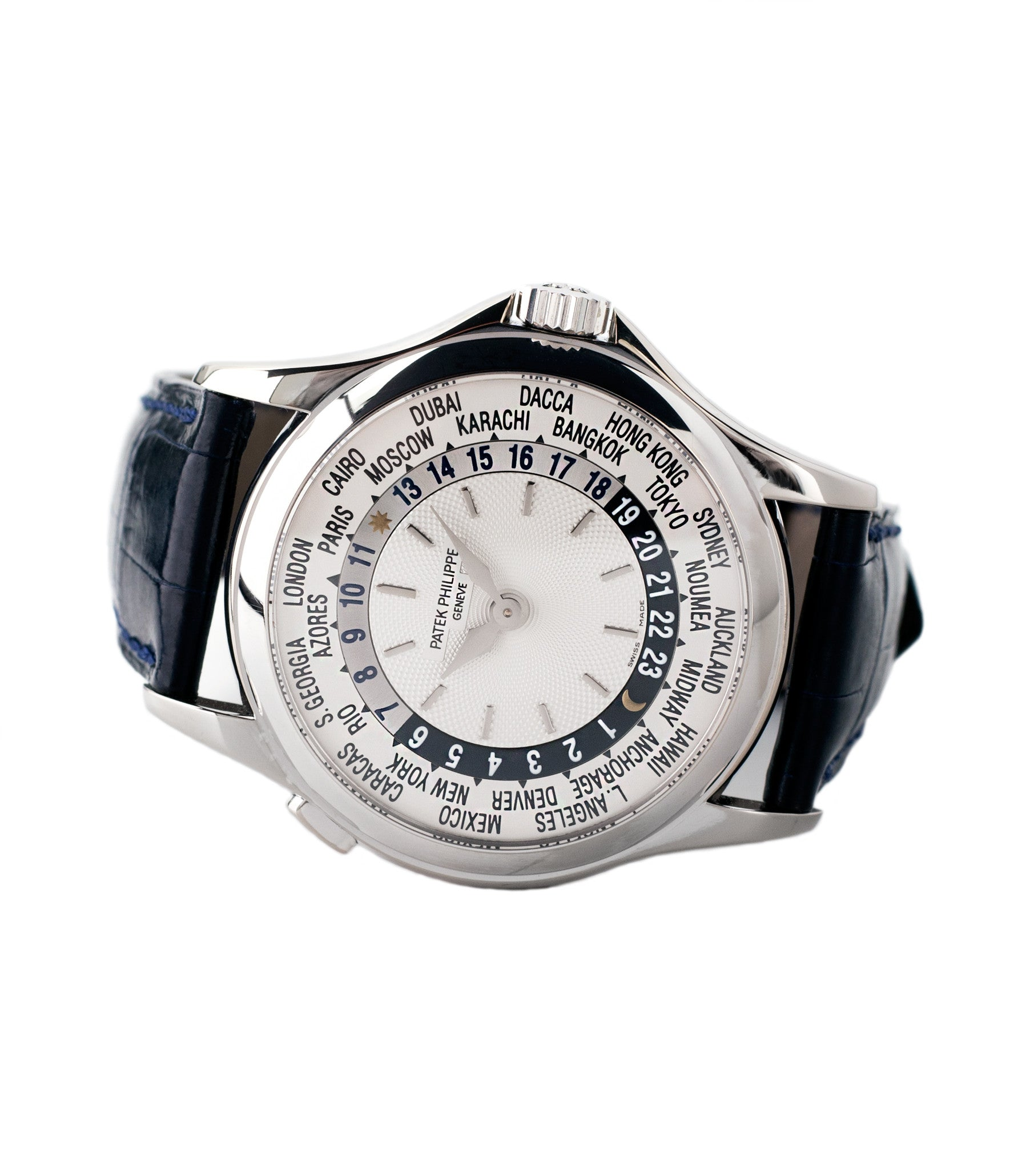 buy worldtimer Patek Philippe 5110G-001 white gold luxury dress watch online for sale at A Collected Man London specialist preowned luxury watches