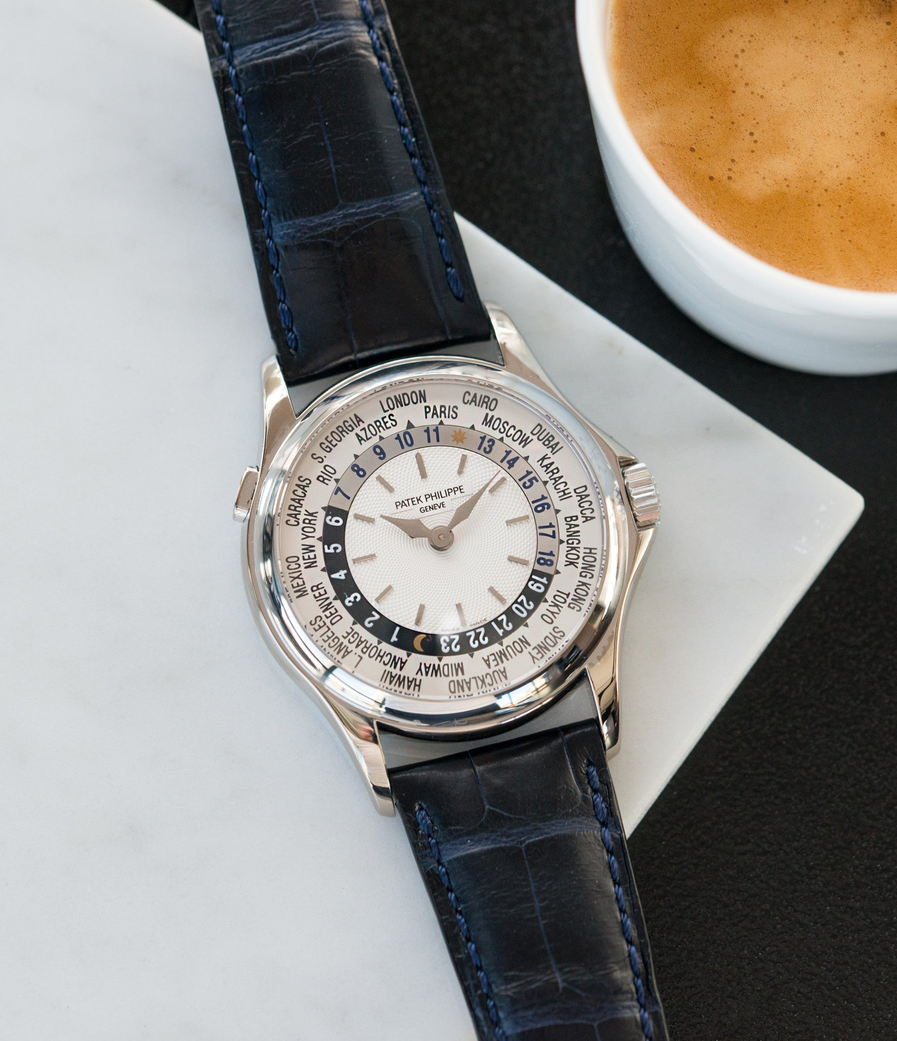 buy preowned luxury gents watch Patek Philippe 5110G-001 white gold World-timer luxury dress watch online for sale at A Collected Man London specialist preowned luxury watches