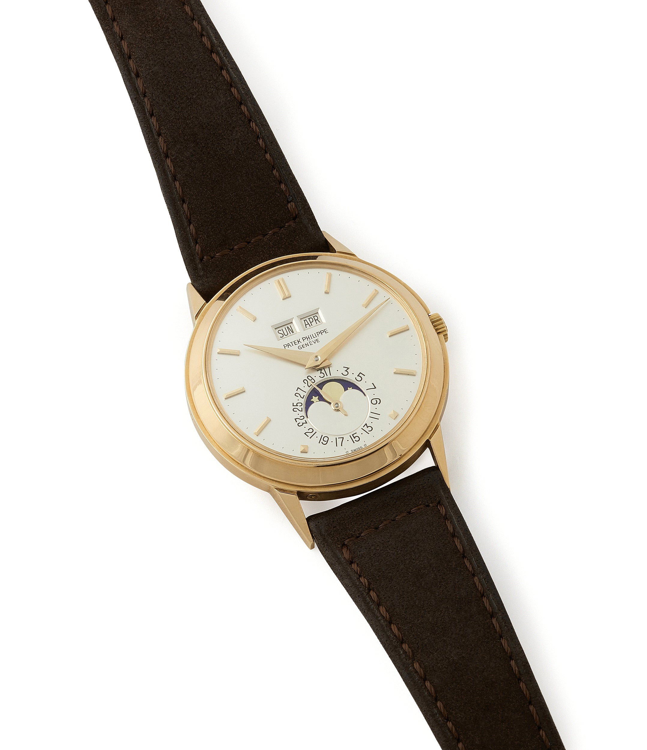 buying vintage Patek Philippe 3448 Perpetual Calendar Moonphase yellow gold dress watch for sale online at A Collected Man London UK specialist of rare watches