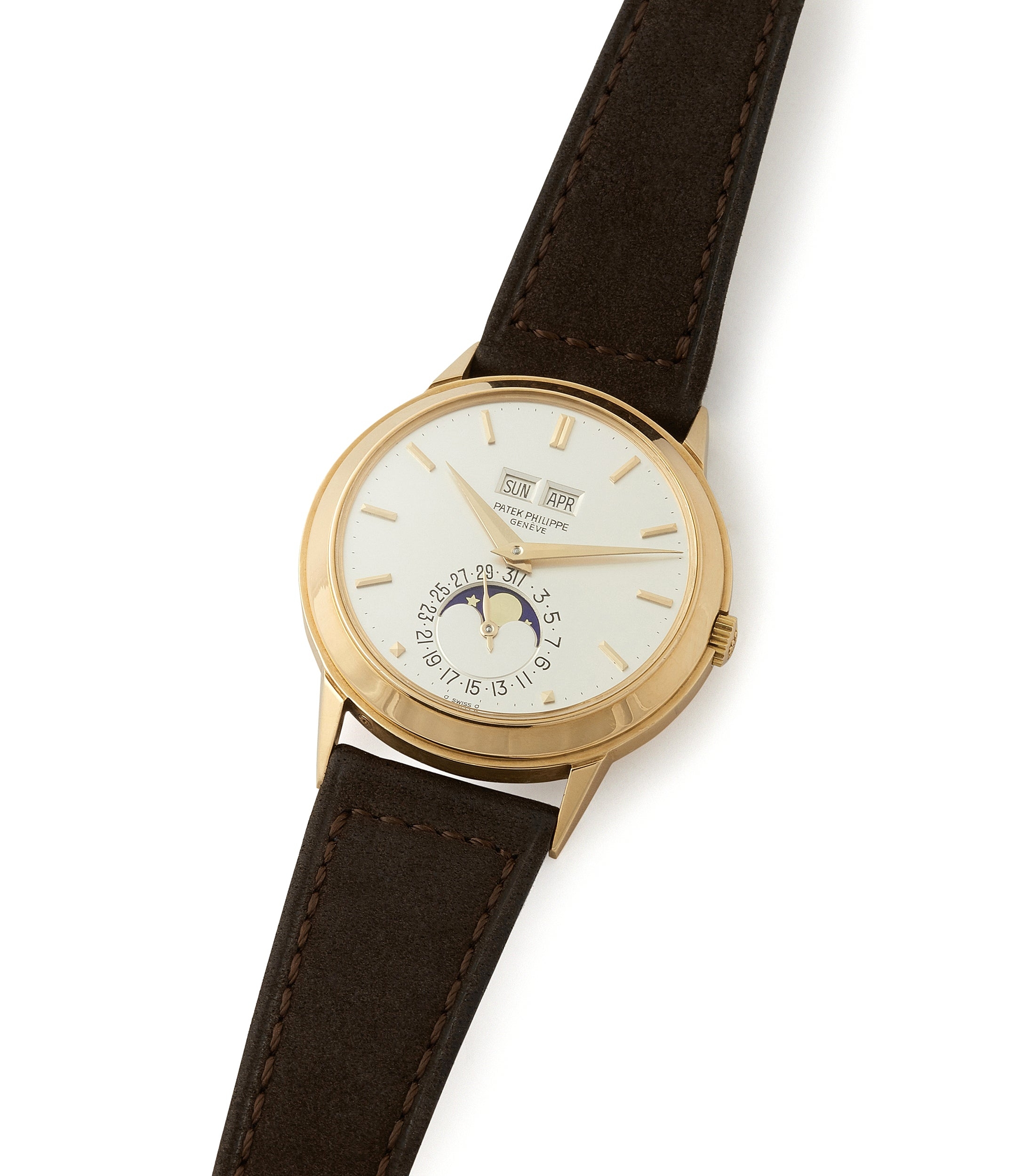 shop vintage Patek Philippe 3448 Perpetual Calendar Moonphase yellow gold dress watch for sale online at A Collected Man London UK specialist of rare watches