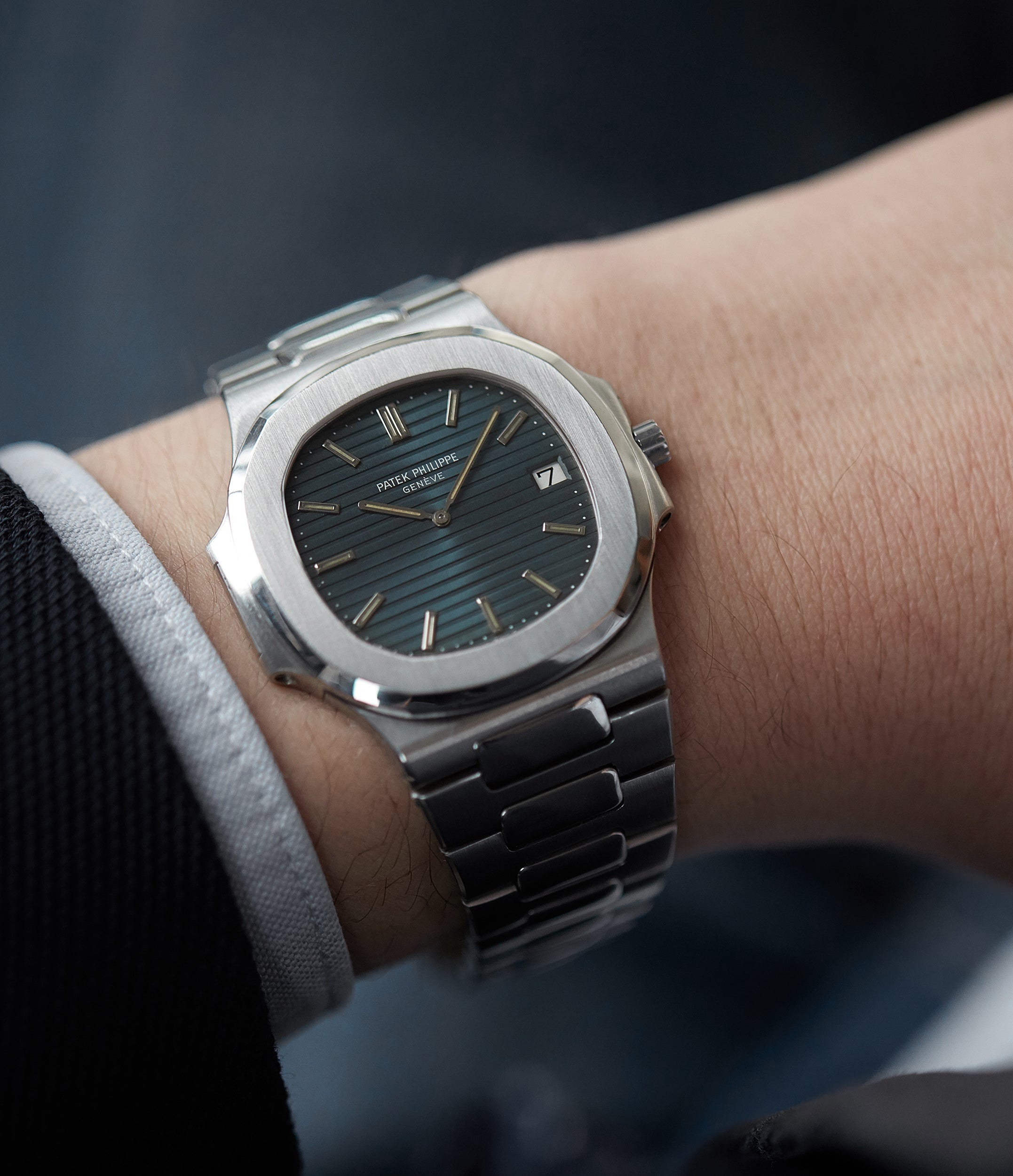 on the wrist Patek Philippe Nautilus 3700/001 full set vintage watch for sale online at A Collected Man London UK specialist of rare watches