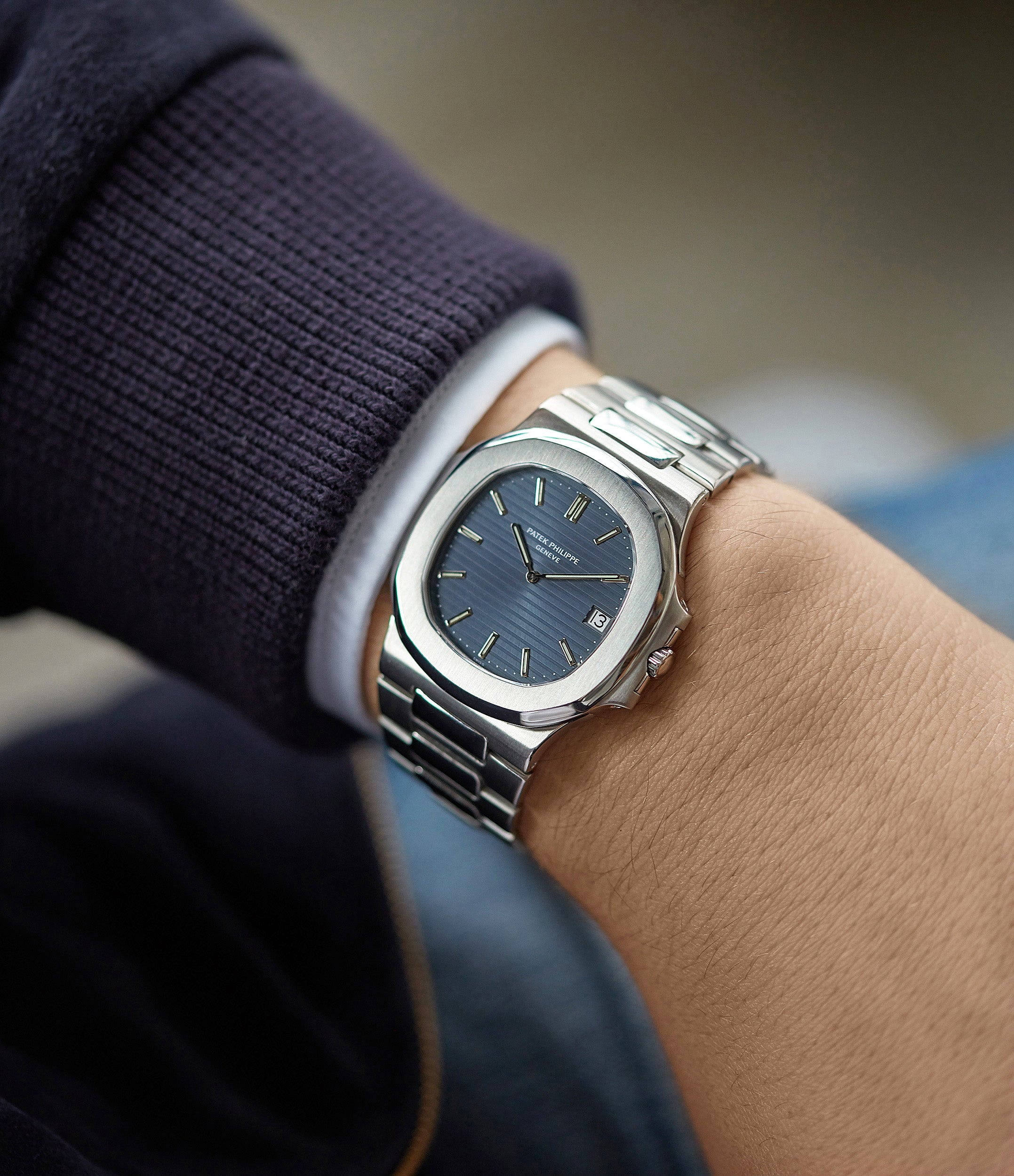 on the wrist Patek Philippe Nautilus 3700/001A steel sport watch full set for sale online at A Collected Man London UK specialist of rare vintage watches