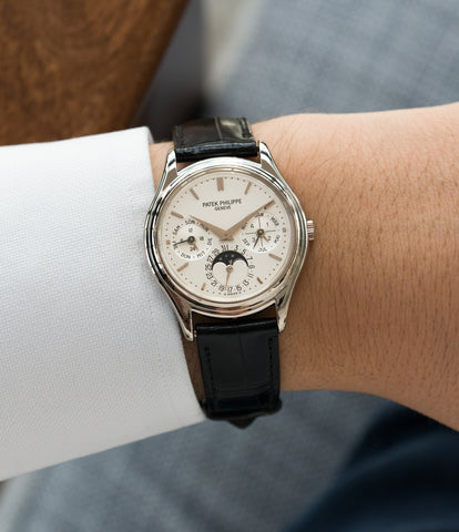 on the wrist Patek Philippe 3940G-017 Perpetual Calendar Moonphase white gold rare watch German dial full set online at A Collected Man London UK specialist rare luxury watches