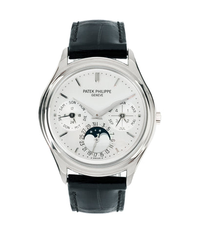 buy Patek Philippe 3940G-017 Perpetual Calendar Moonphase white gold rare watch German dial full set online at A Collected Man London UK specialist rare luxury watches
