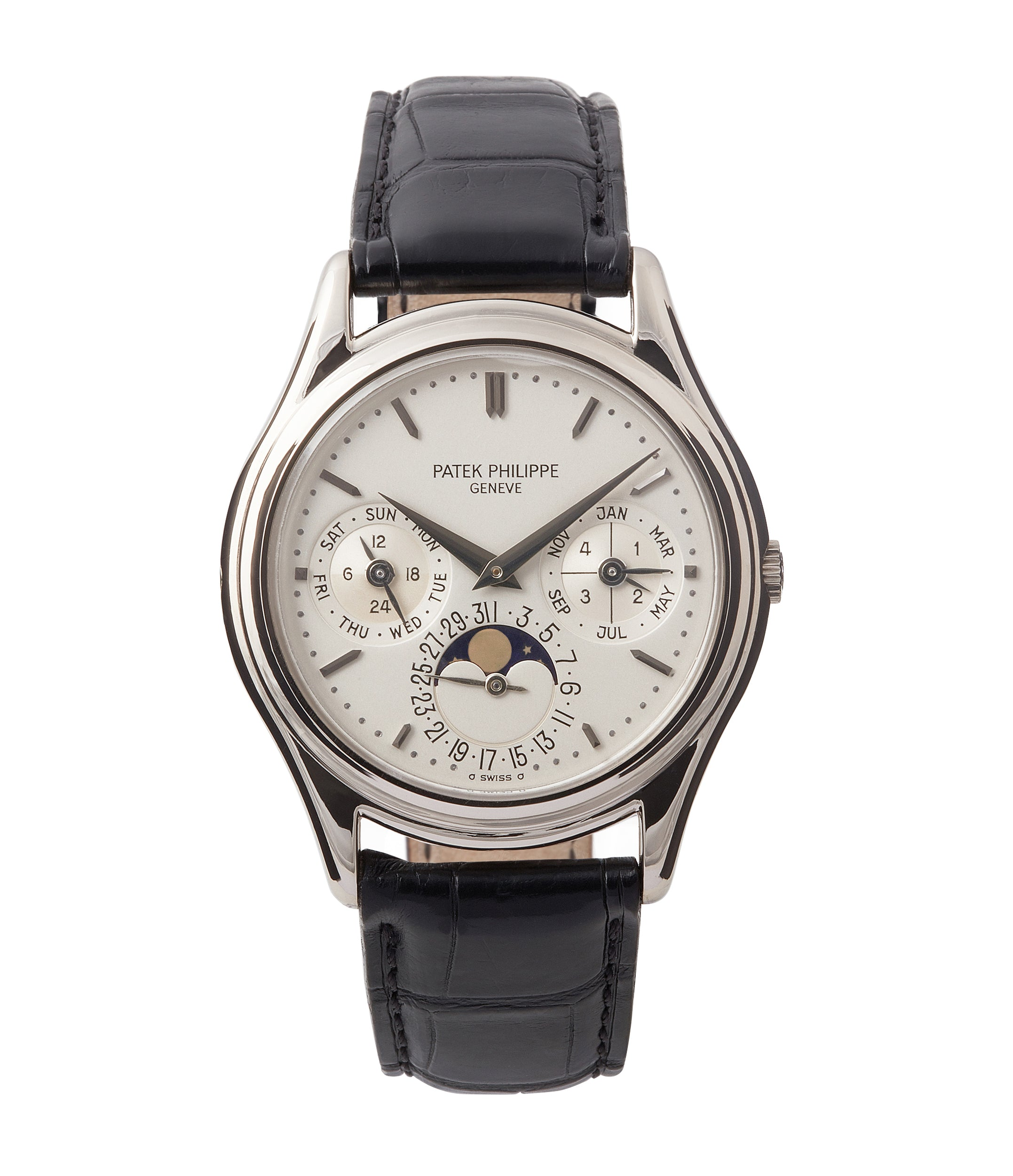 buy Patek Philippe 3940G Perpetual Calendar vintage rare watch English dial for sale online at A Collected Man London UK specialist of rare watches