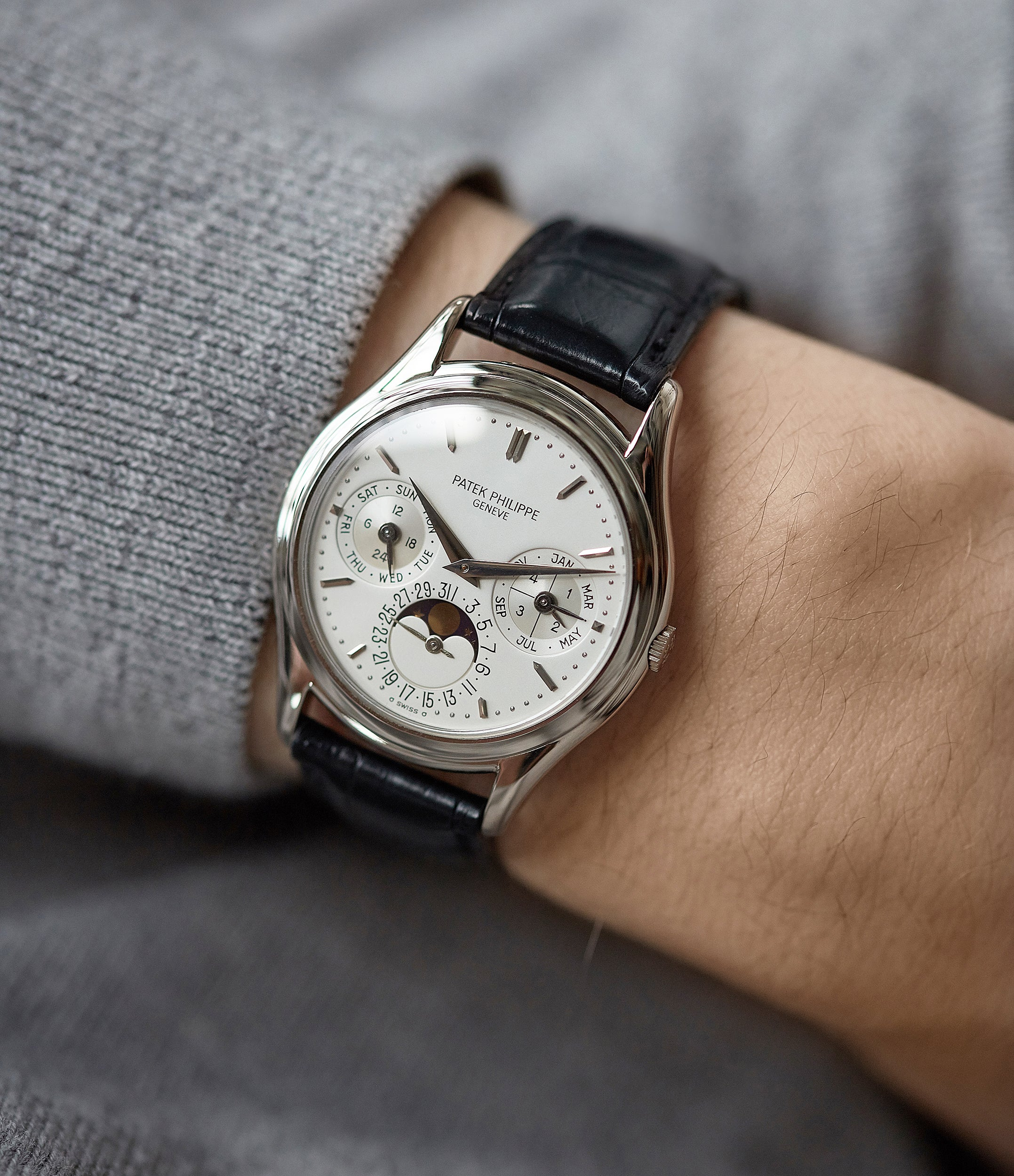 rare Patek Philippe 3940G Perpetual Calendar vintage rare watch English dial for sale online at A Collected Man London UK specialist of rare watches