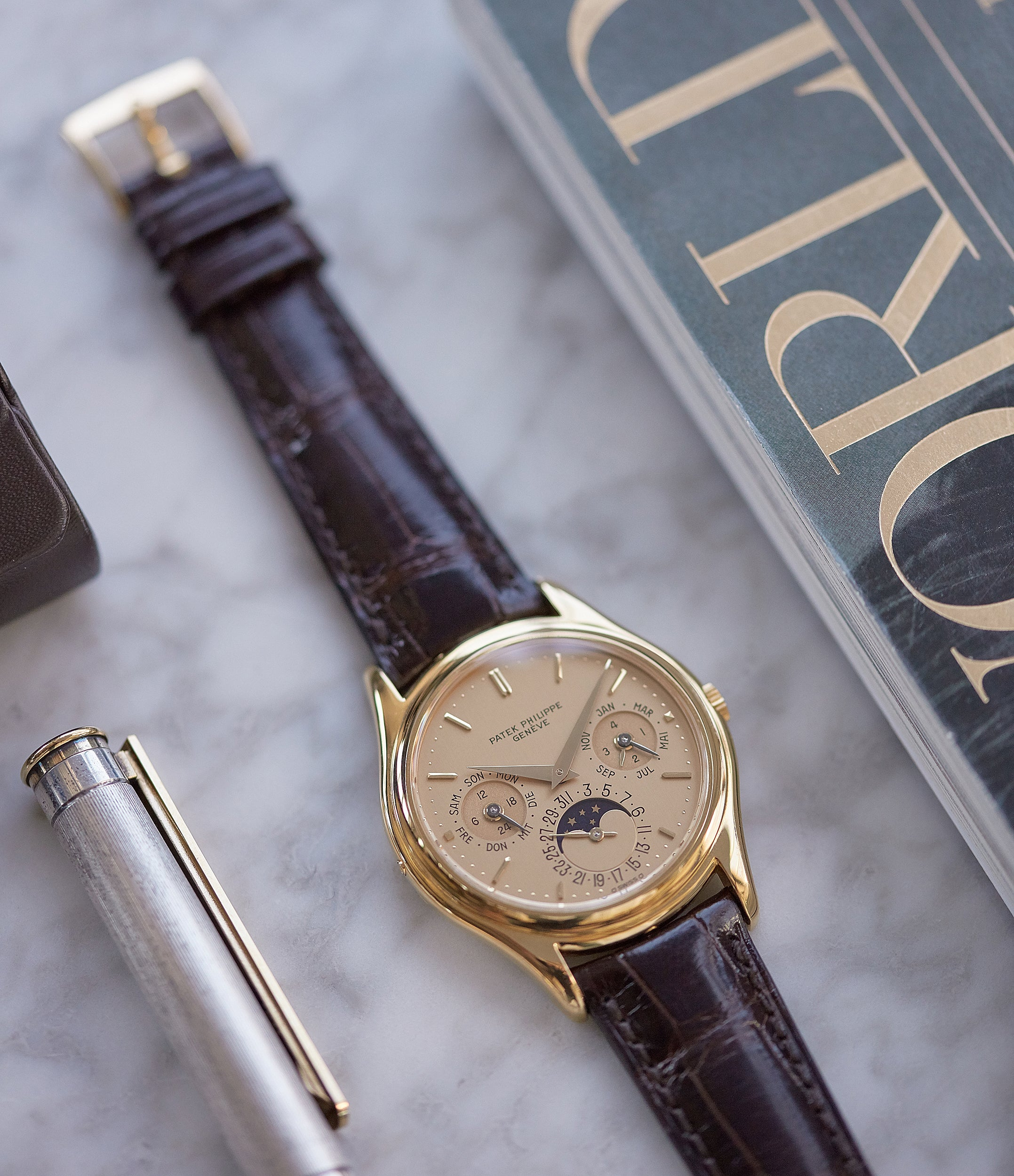 men's classic vintage Patek Philippe 3940J perpetual calendar full set dress watch for sale online at A Collected Man London UK specialist of rare watches