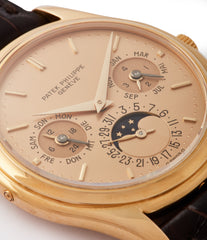 dore dial yellow gold vintage Patek Philippe 3940J perpetual calendar full set dress watch for sale online at A Collected Man London UK specialist of rare watches