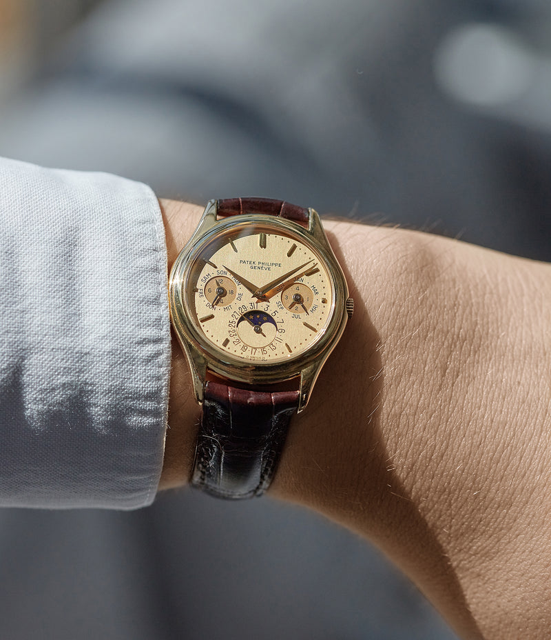 on the wrist Patek Philippe 3940J perpetual calendar full set dress watch for sale online at A Collected Man London UK specialist of rare watches