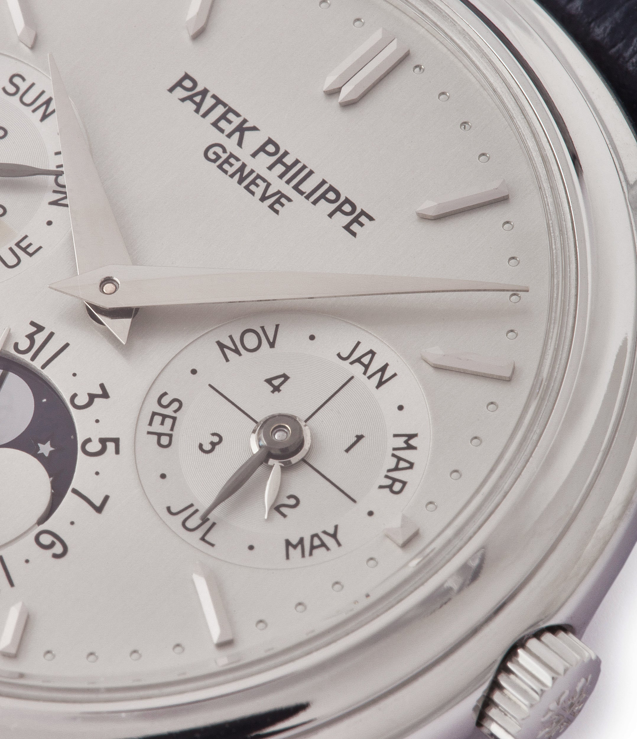 perpetual calendar Patek Philippe 3940P platinum rare dress watch full set for sale online at A Collected Man London UK specialist of rare watches