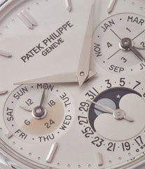 silver dial Patek Philippe 3940P platinum perpetual calendar rare dress watch full set for sale online at A Collected Man London UK specialist of rare watches