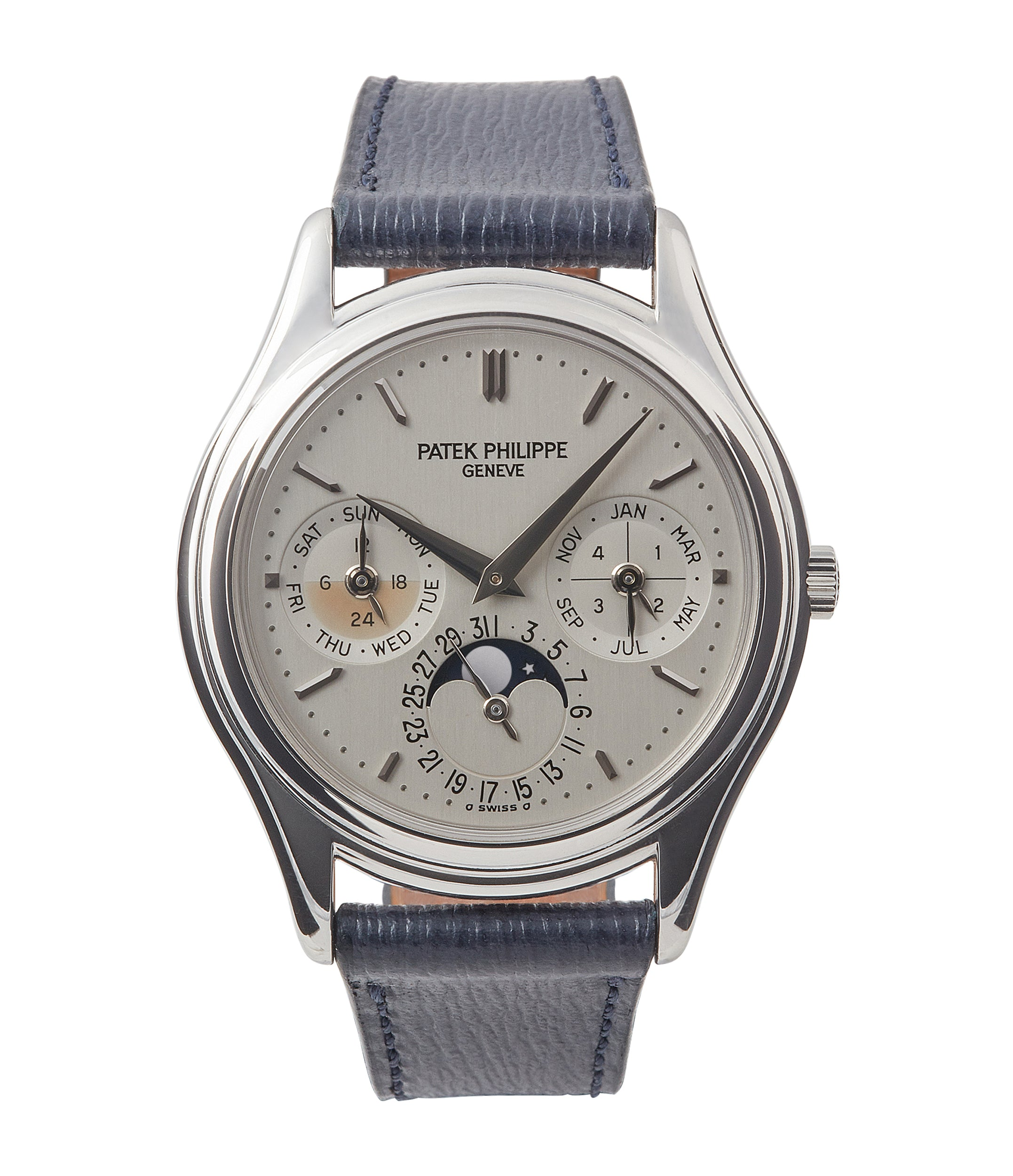 buy Patek Philippe 3940P platinum perpetual calendar rare dress watch full set for sale online at A Collected Man London UK specialist of rare watches