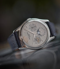 rare Patek Philippe 3940P platinum perpetual calendar dress watch full set for sale online at A Collected Man London UK specialist of rare watches