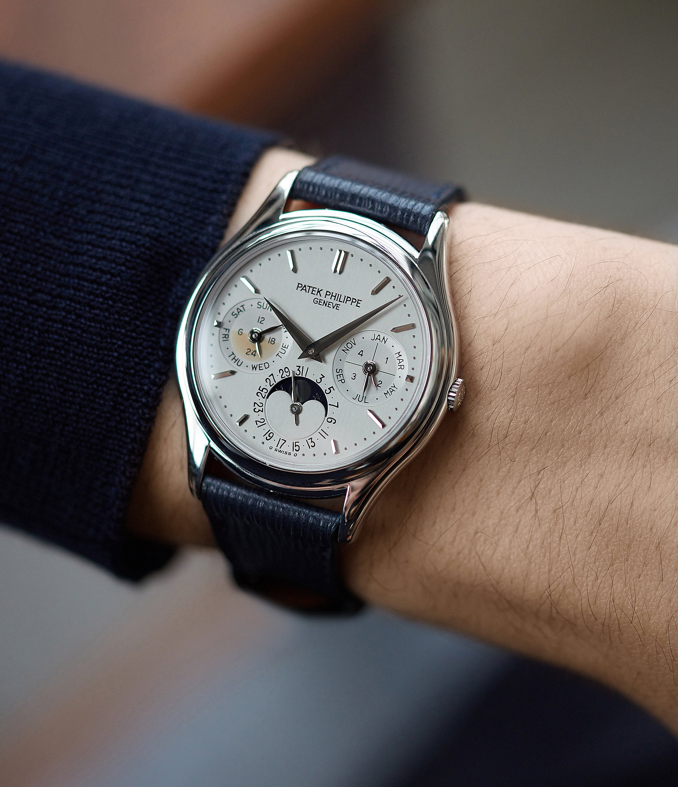 hands on with Patek Philippe 3940P platinum perpetual calendar rare dress watch full set for sale online at A Collected Man London UK specialist of rare watches