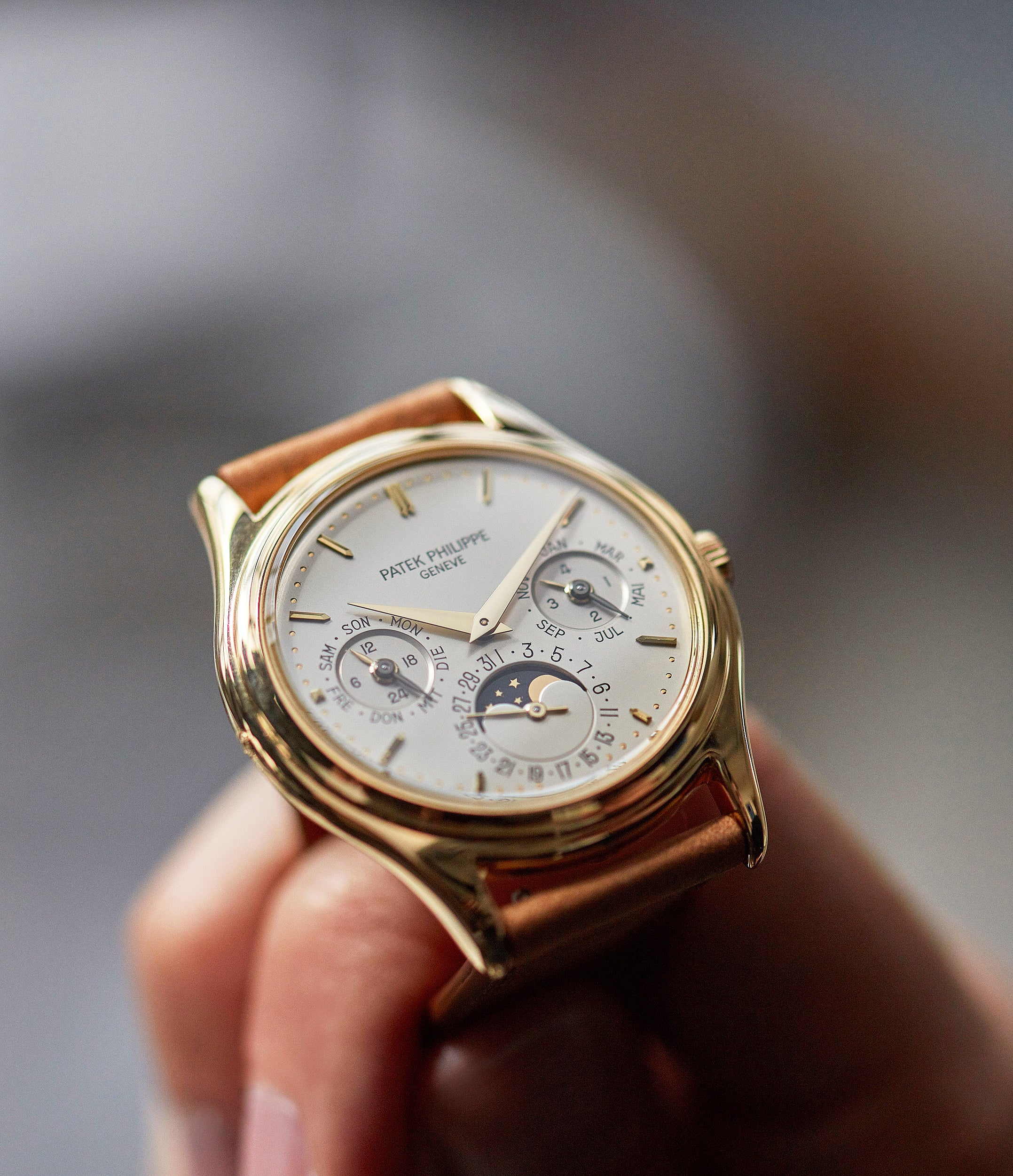 collect Patek Philippe 3940J first series yellow gold perpetual calendar dress watch for sale online at A Collected Man London