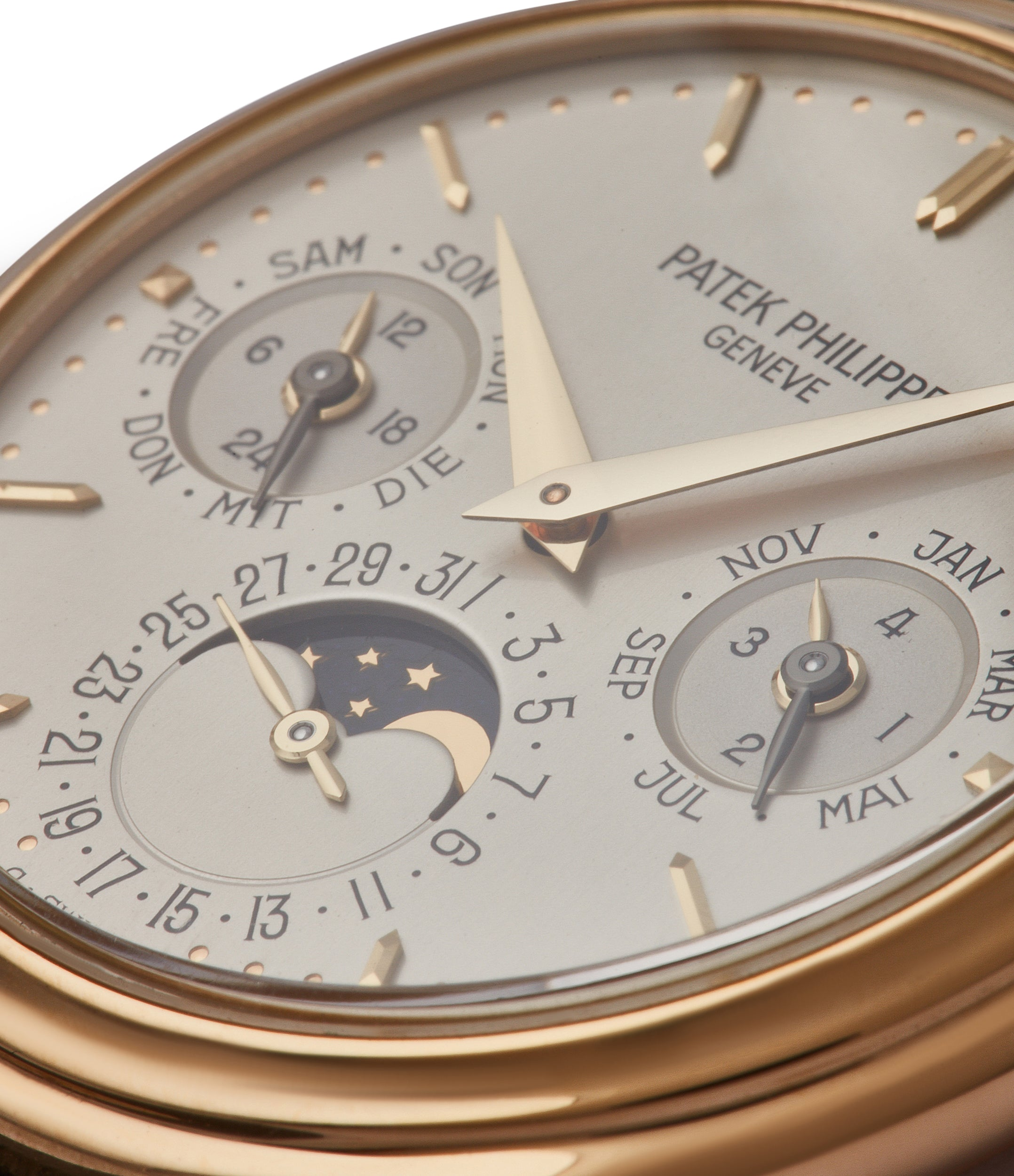 silver German dial Patek Philippe 3940J first series yellow gold perpetual calendar dress watch for sale online at A Collected Man London