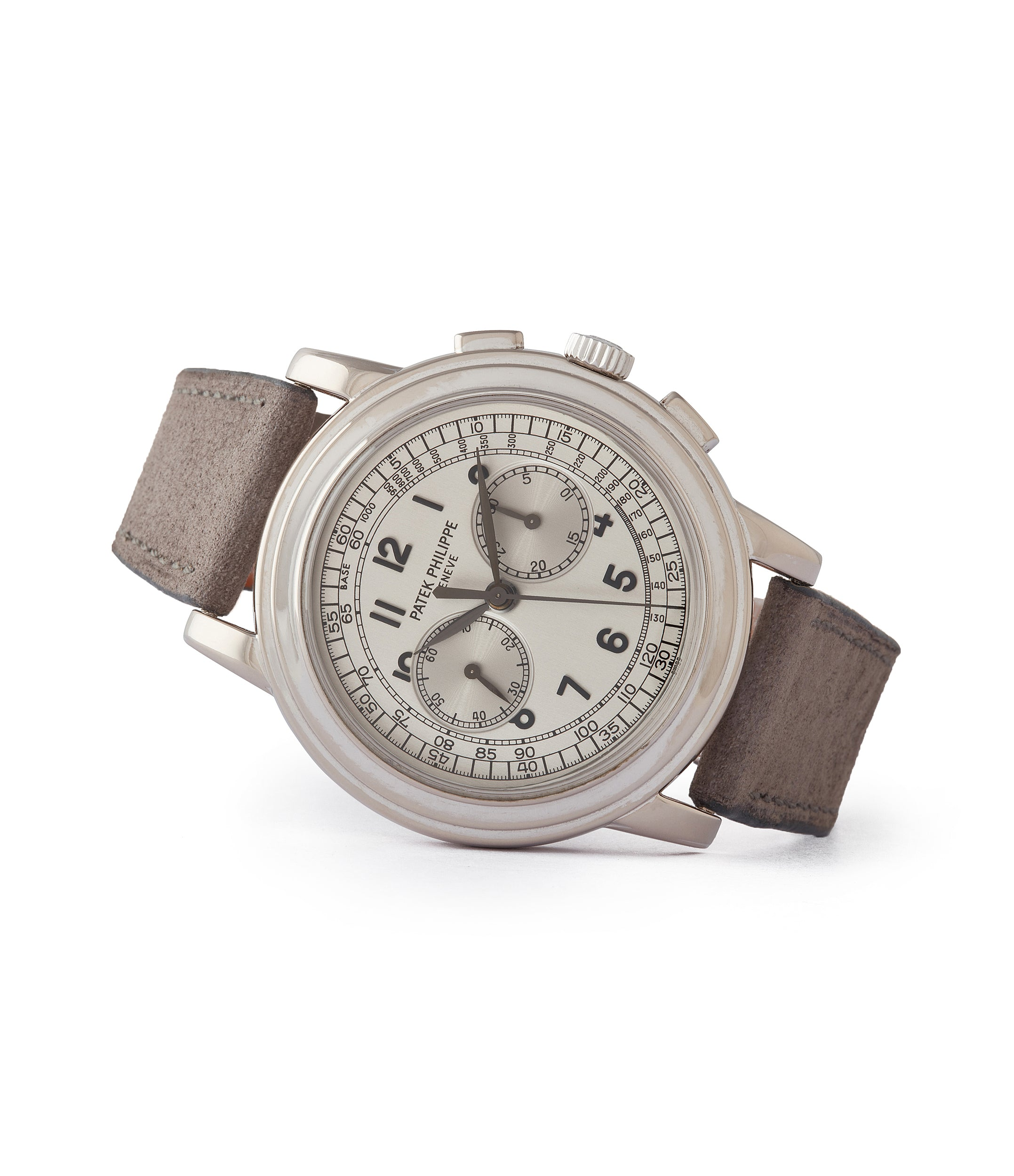 side-shot luxury preowned Patek Philippe 5070G Chronograph dress watch in white gold for sale online at A Collected Man London UK specialist of rare watches