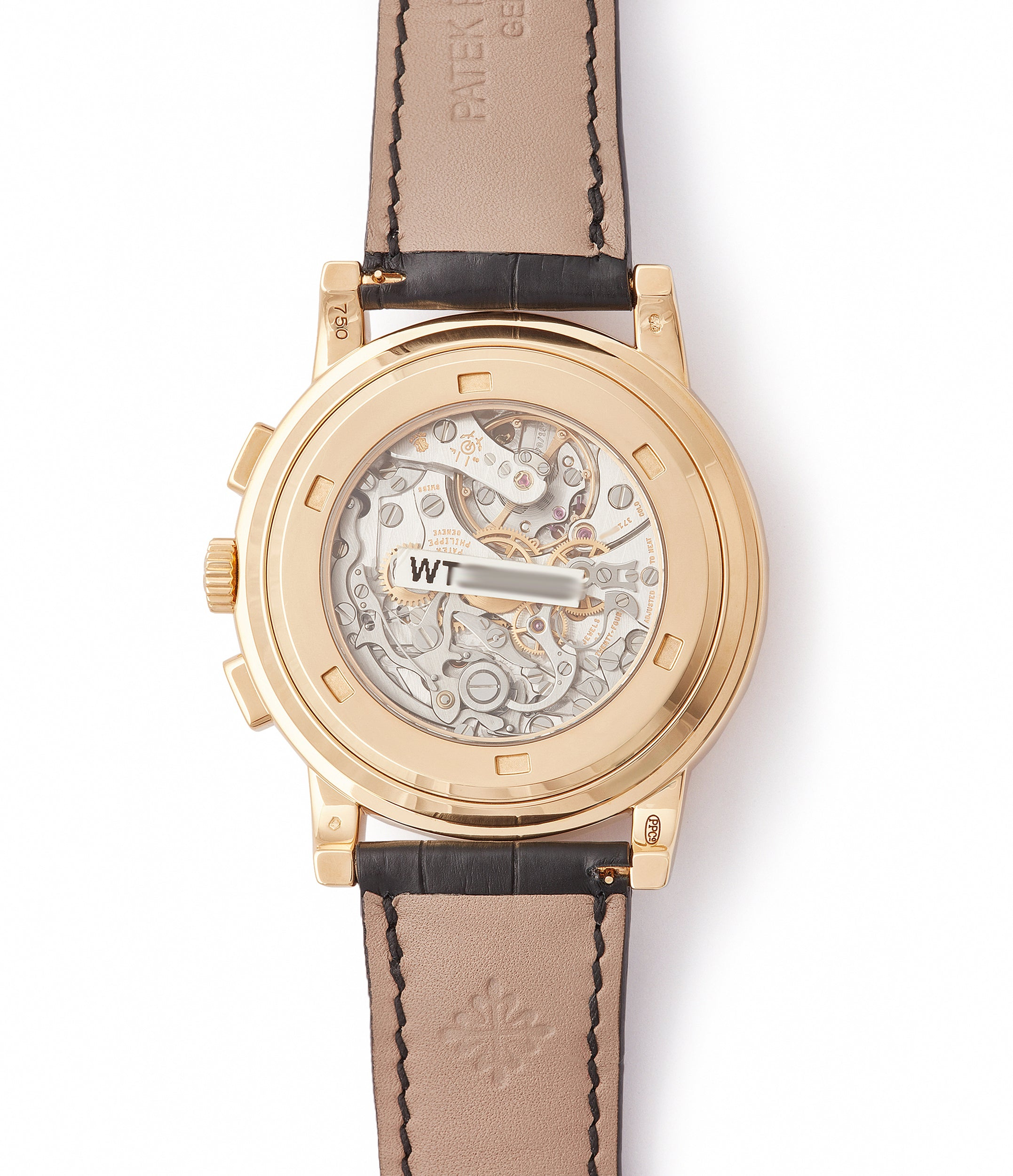manual-winding Patek Philippe 5070J-012 Saatchi Edition Chronograph brown dial yellow gold watch for sale online at A Collected Man London UK specialist of rare watches
