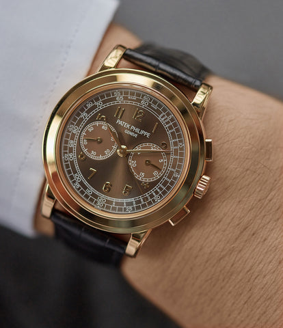on the wrist Patek Philippe 5070J-012 Saatchi Edition Chronograph yellow gold watch for sale online at A Collected Man London UK specialist of rare watches