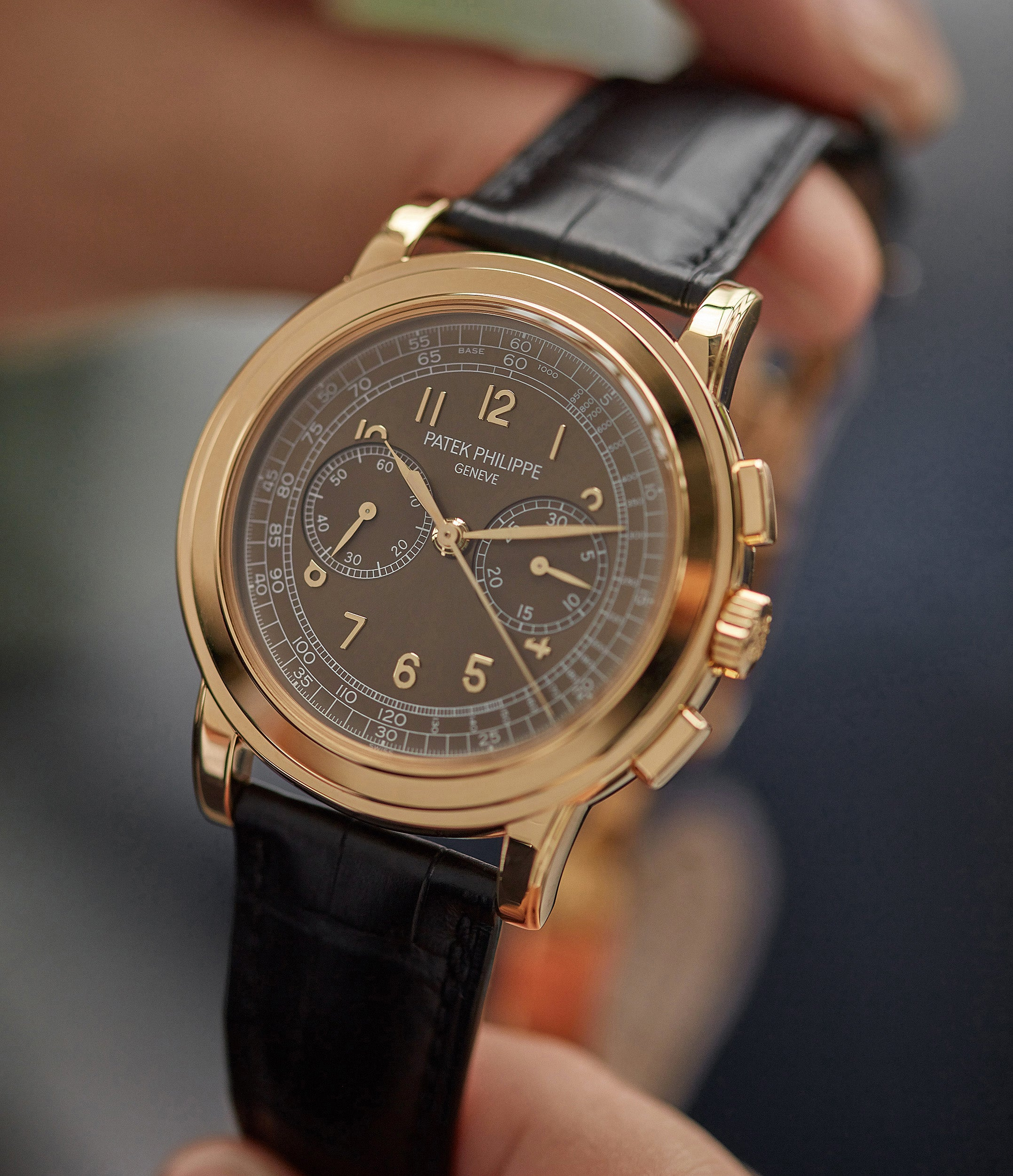 find Patek Philippe 5070J-012 Saatchi Edition Chronograph brown dial yellow gold watch for sale online at A Collected Man London UK specialist of rare watches