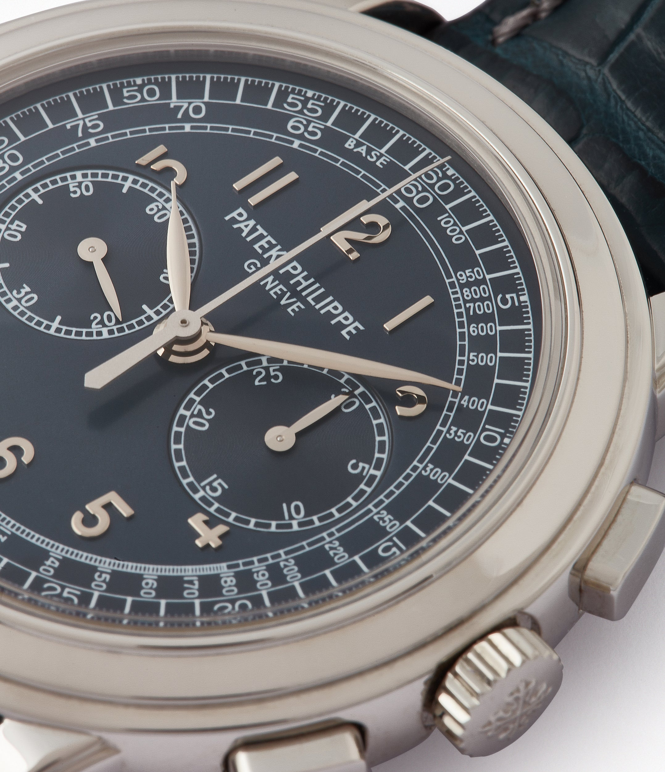 blue dial Patek Philippe 5070P Chronograph rare platinum 42mm luxury watch for sale online at A Collected Man London UK specialist of rare watches