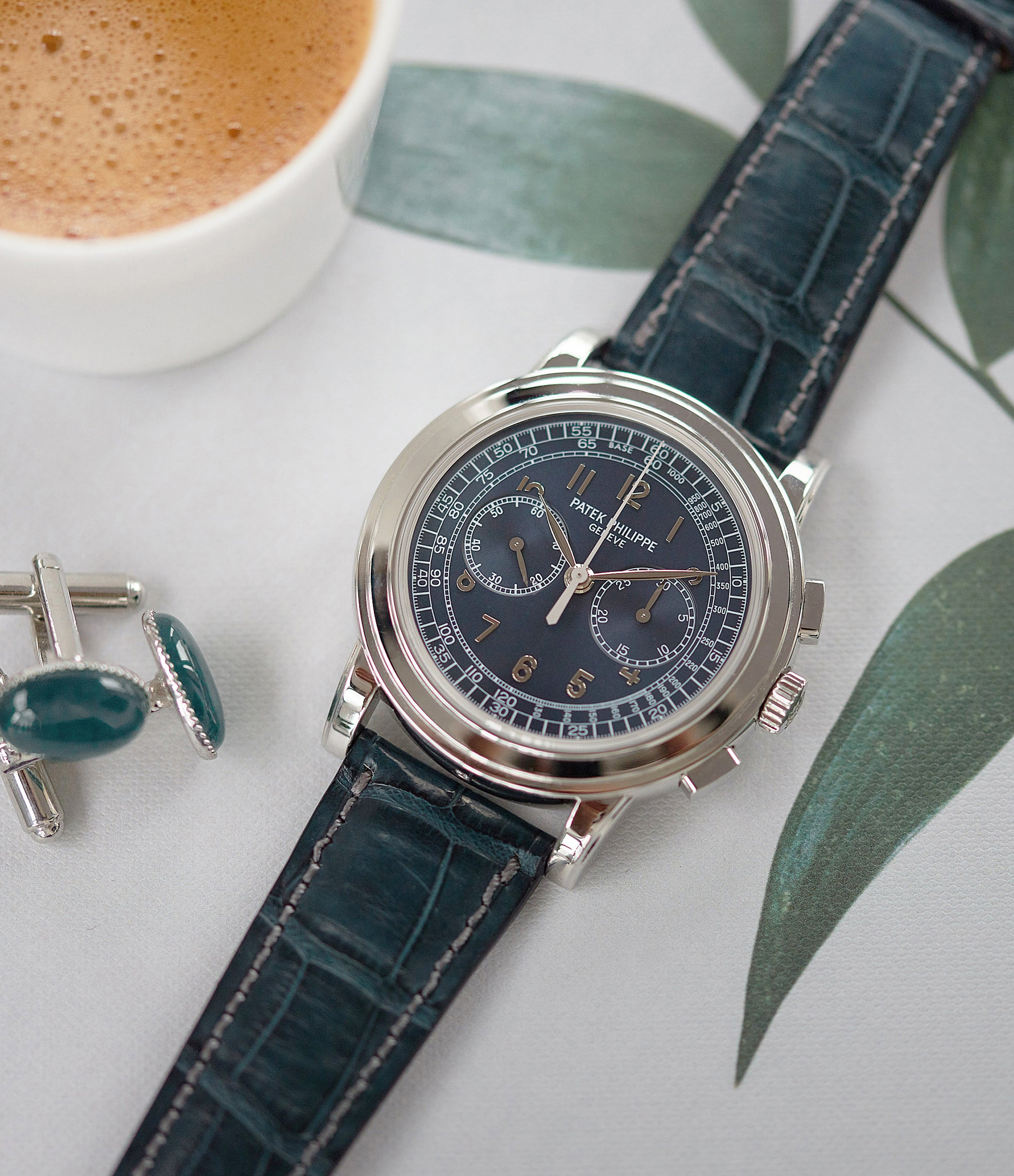 collect rare Patek Philippe 5070P Chronograph rare platinum 42mm luxury watch for sale online at A Collected Man London UK specialist of rare watches