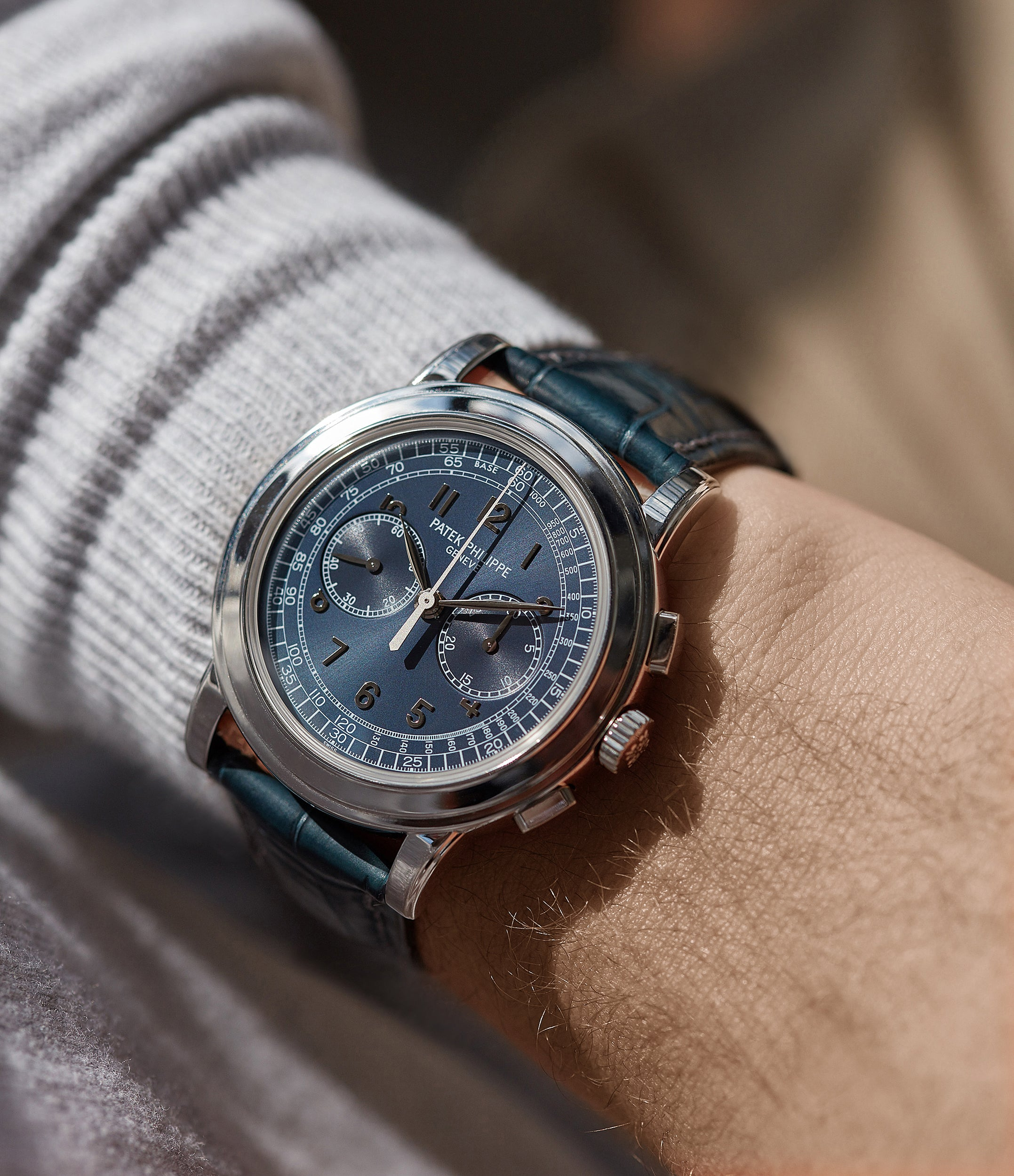 on the wrist Patek Philippe 5070P Chronograph rare platinum 42mm luxury watch for sale online at A Collected Man London UK specialist of rare watches