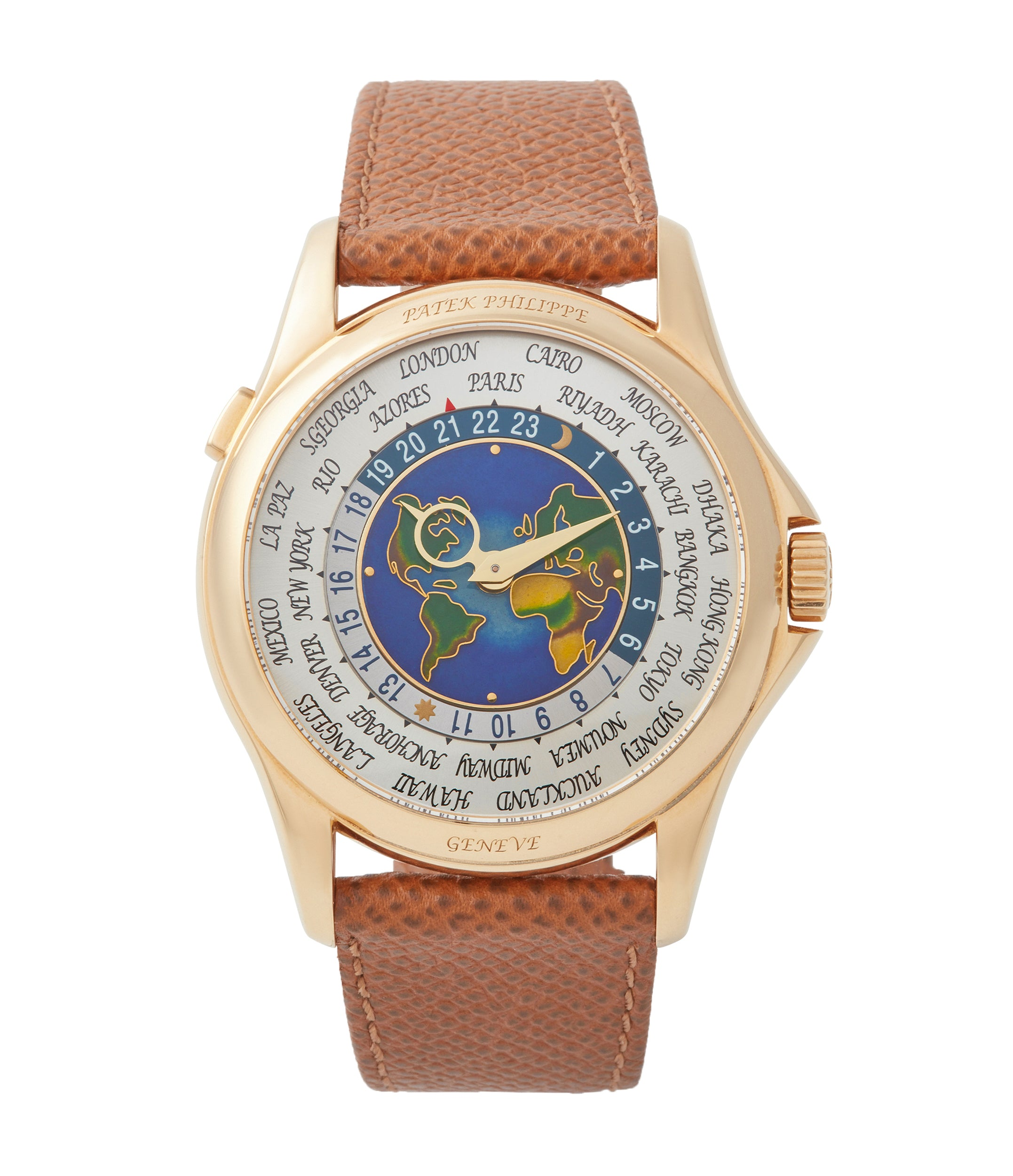 buy Patek Philippe 5131J-014 World Time yellow gold enamel dial traveller watch for sale online A Collected Man London UK specialist rare watches
