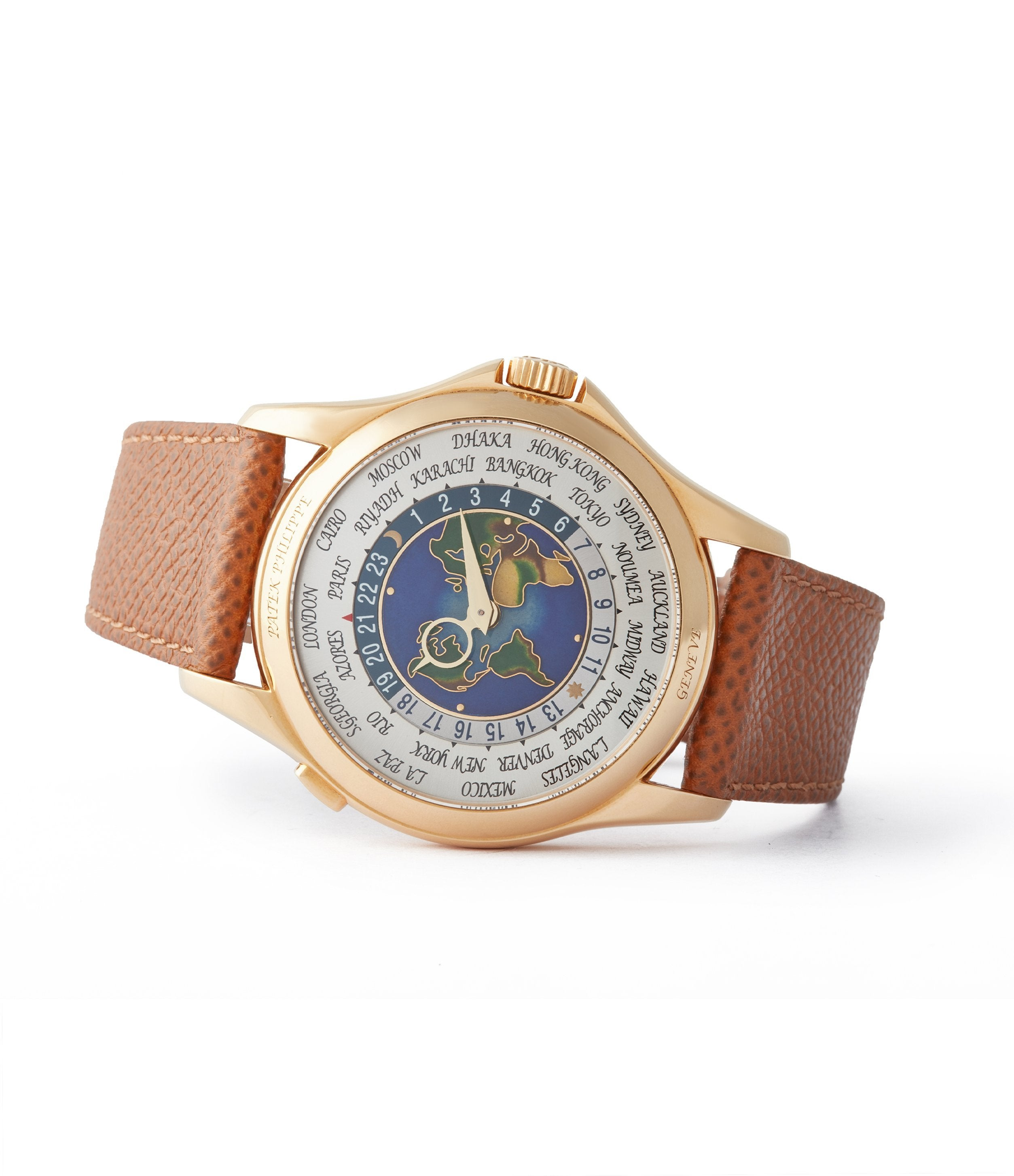 side-shot shop preowned Patek Philippe 5131J-014 World Time yellow gold enamel dial traveller watch for sale online A Collected Man London UK specialist rare watches